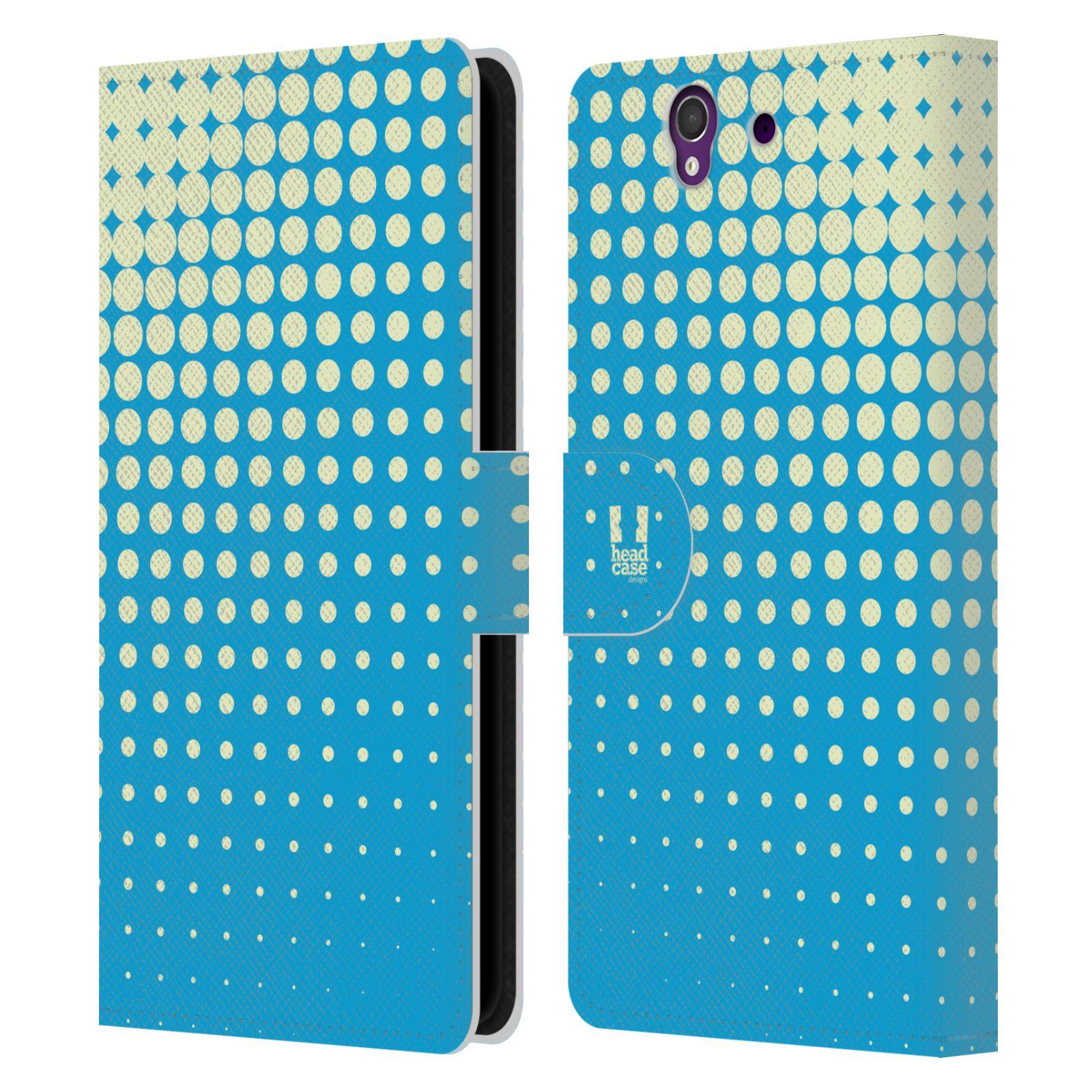 HEAD CASE Flipové pouzdro pro mobil SONY XPERIA Z (C6603) prolínající se tečky modrá barva