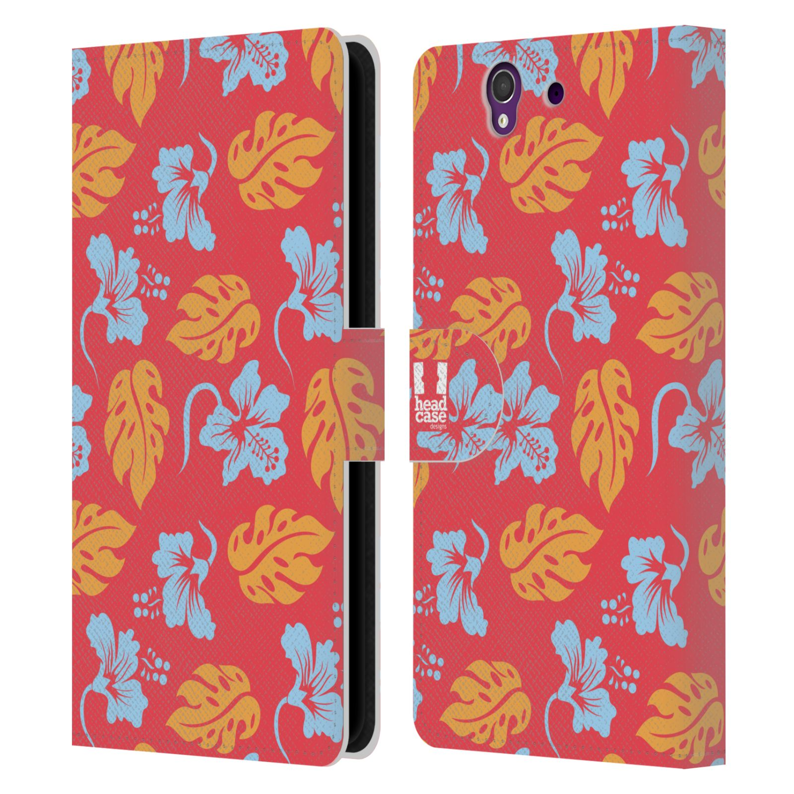 HEAD CASE Flipové pouzdro pro mobil SONY XPERIA Z (C6603) Havajský vzor listy růžová