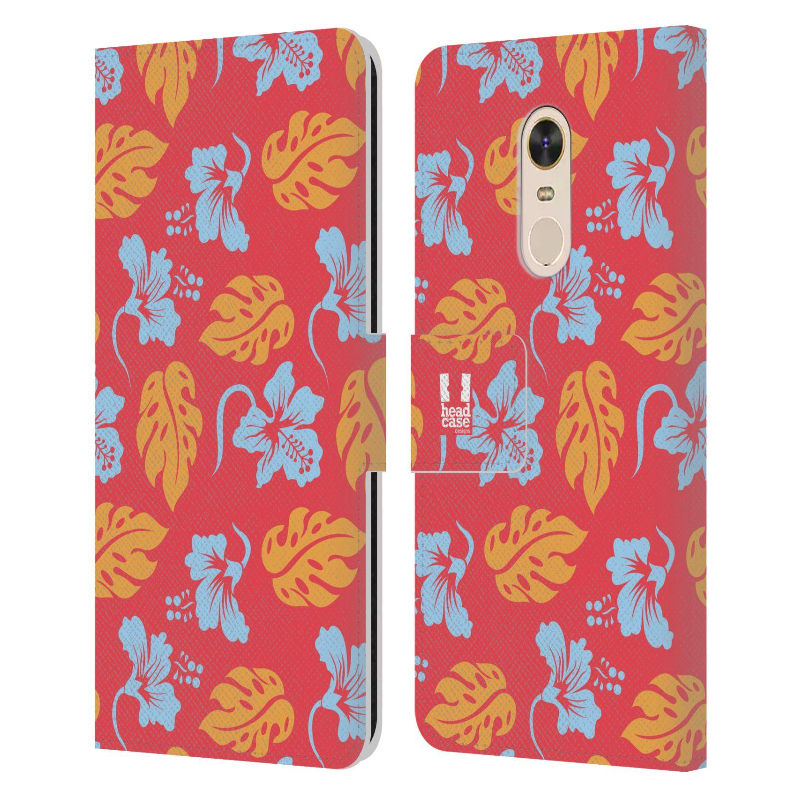 HEAD CASE Flipové pouzdro pro mobil Xiaomi Redmi Note 5 Havajský vzor listy růžová