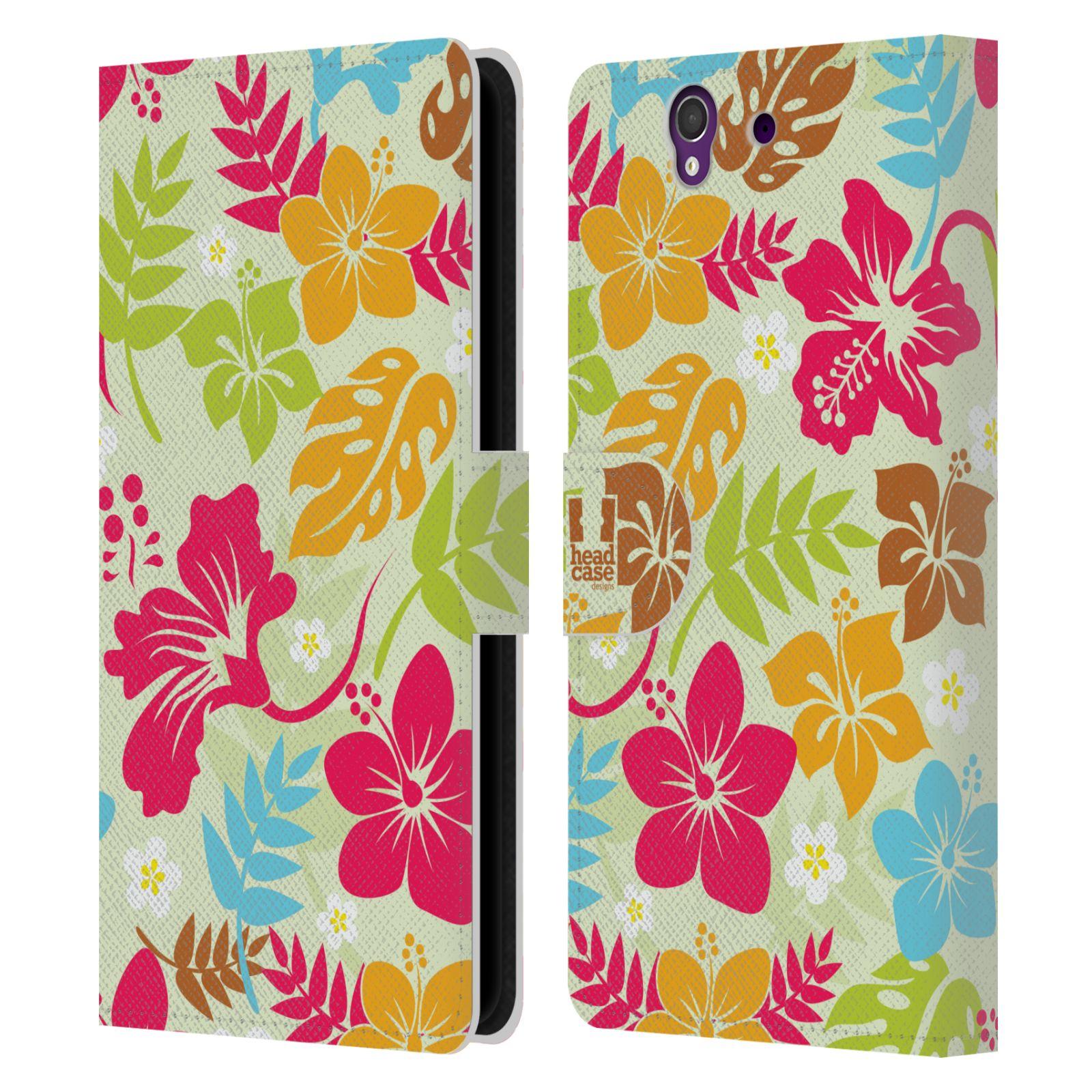 HEAD CASE Flipové pouzdro pro mobil SONY XPERIA Z (C6603) Havajský vzor barevné květy
