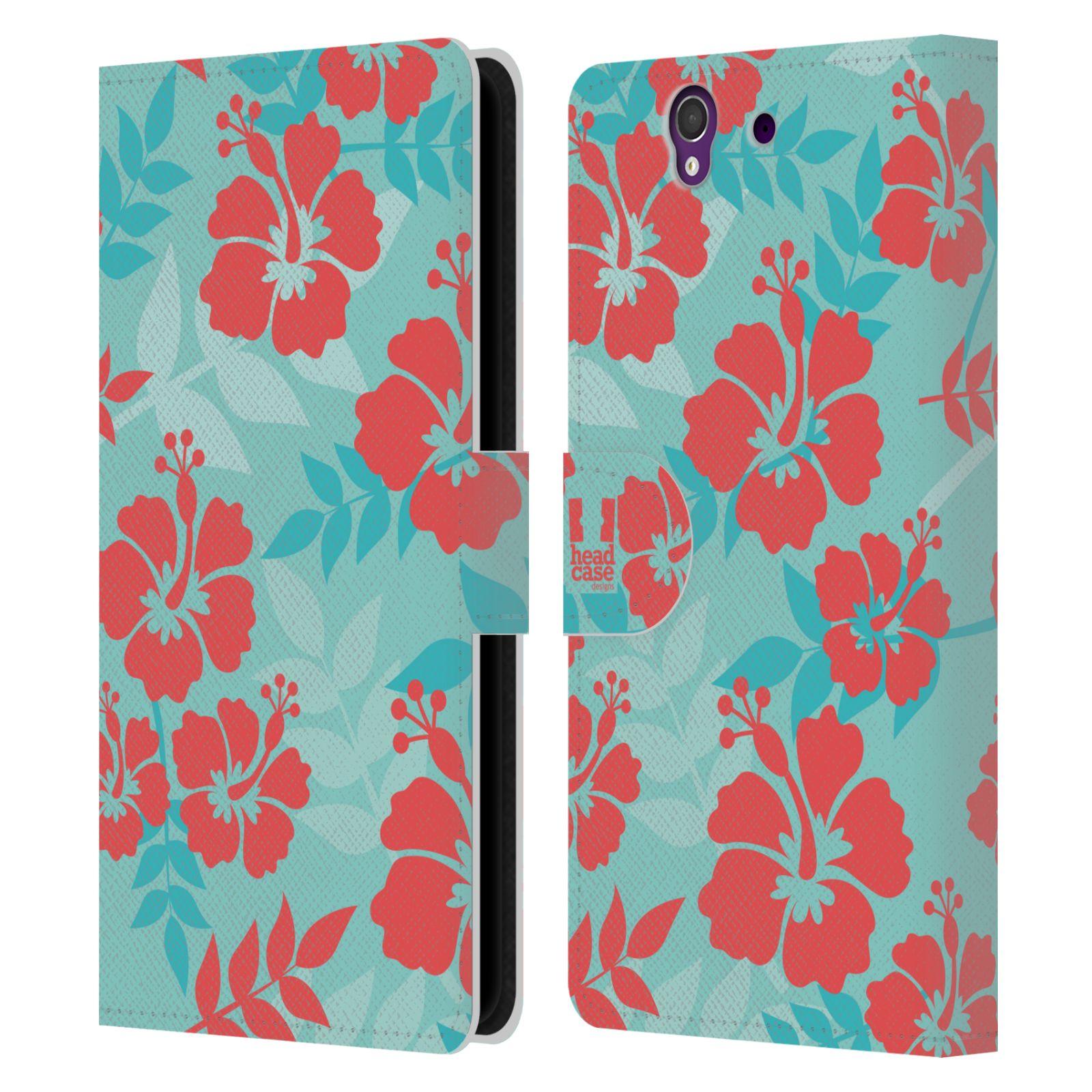 HEAD CASE Flipové pouzdro pro mobil SONY XPERIA Z (C6603) Havajský vzor Ibišek květ modrá a růžová