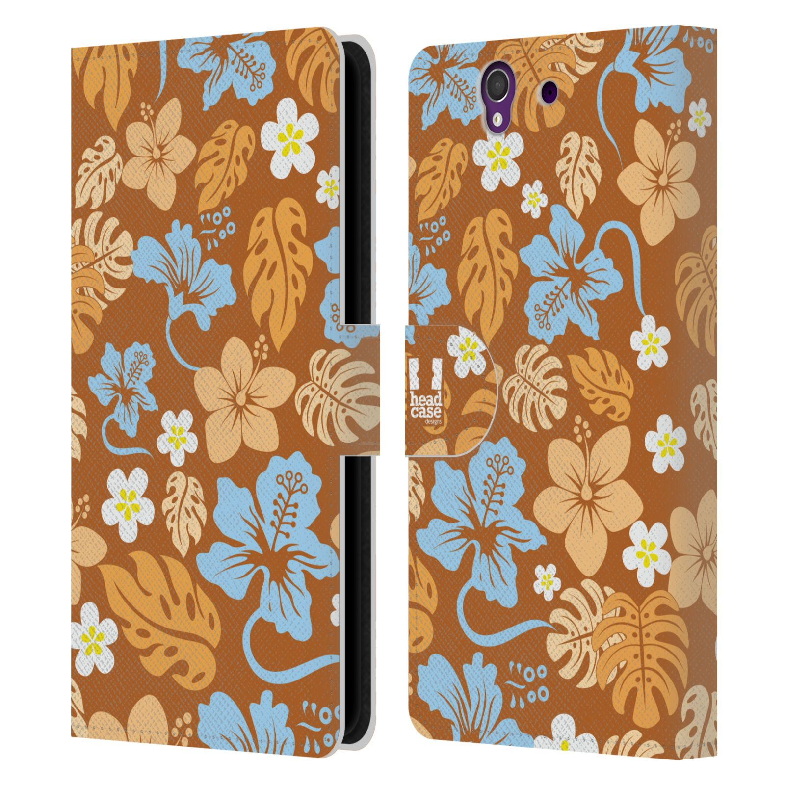 HEAD CASE Flipové pouzdro pro mobil SONY XPERIA Z (C6603) Havajský vzor květy různé hnědá barva