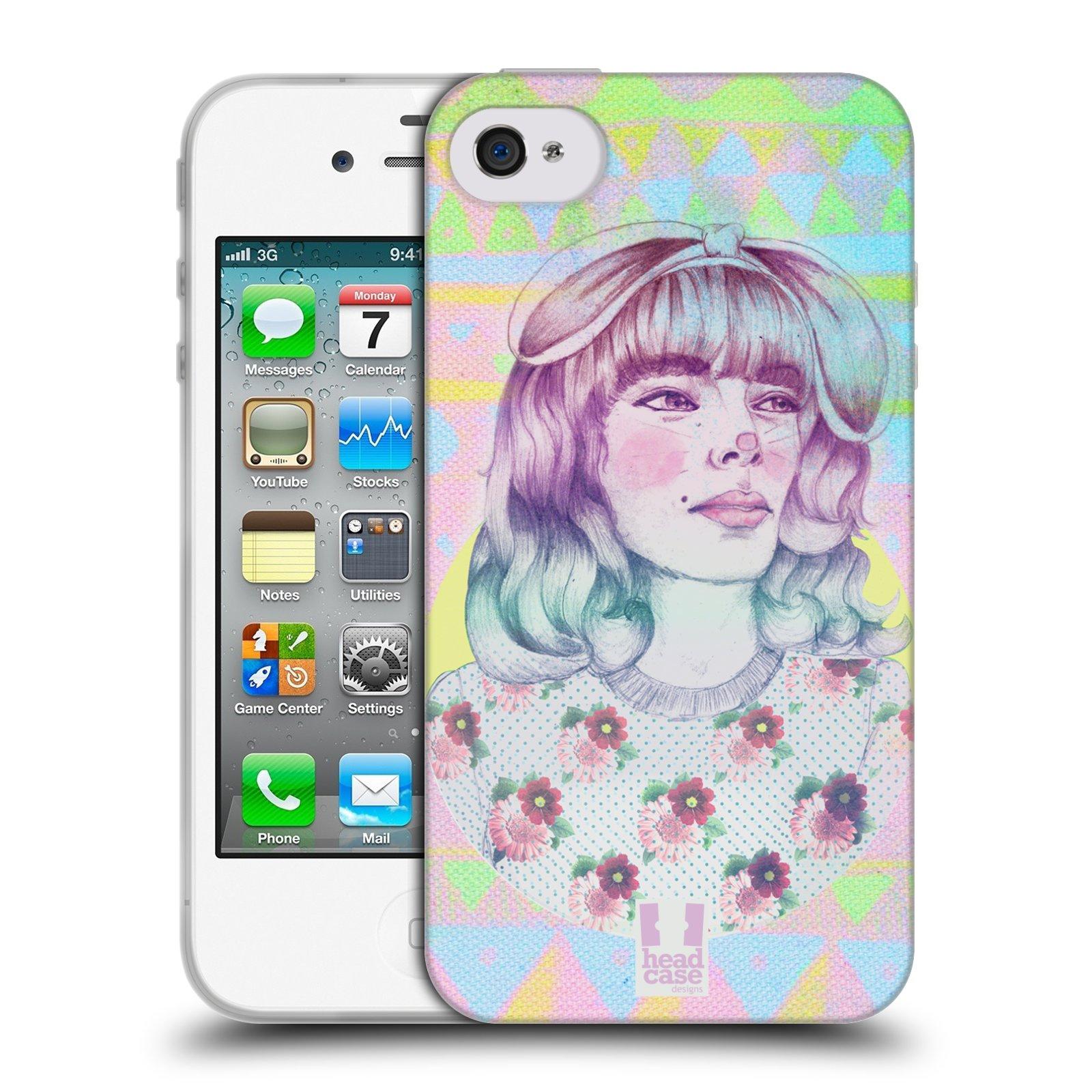 HEAD CASE silikonový obal na mobil Apple Iphone 4/4S vzor Děvče zvířecí tématika zajíček
