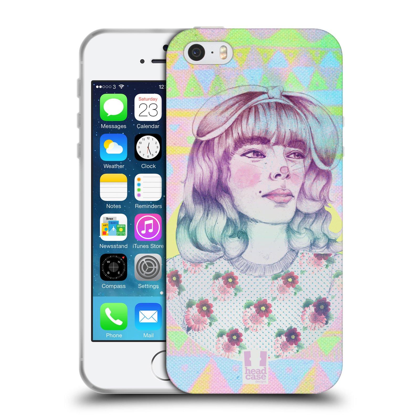 HEAD CASE silikonový obal na mobil Apple Iphone 5/5S vzor Děvče zvířecí tématika zajíček