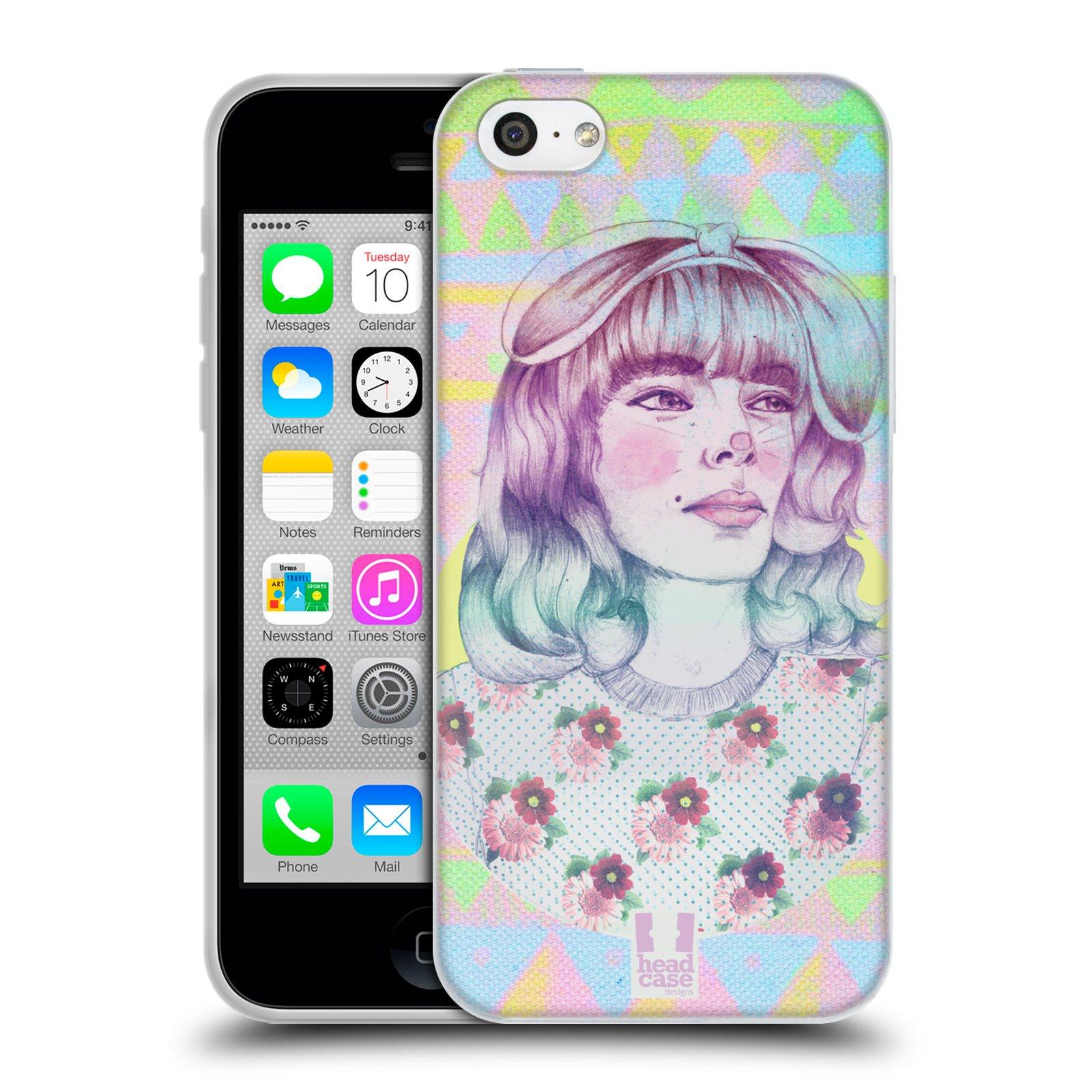 HEAD CASE silikonový obal na mobil Apple Iphone 5C vzor Děvče zvířecí tématika zajíček
