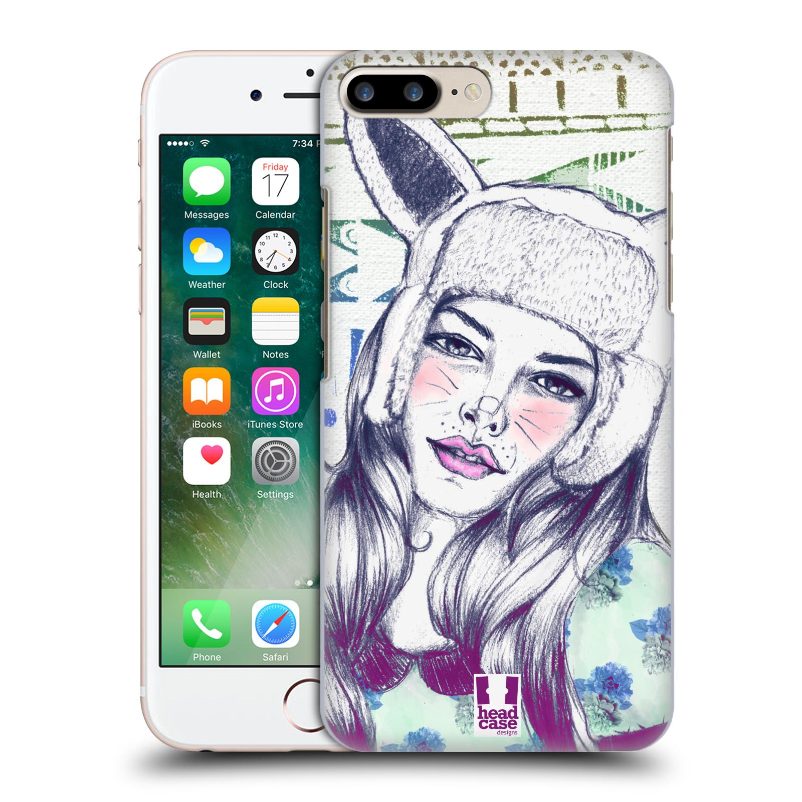 HEAD CASE plastový obal na mobil Apple Iphone 7 PLUS vzor Děvče zvířecí tématika zajíček čepka