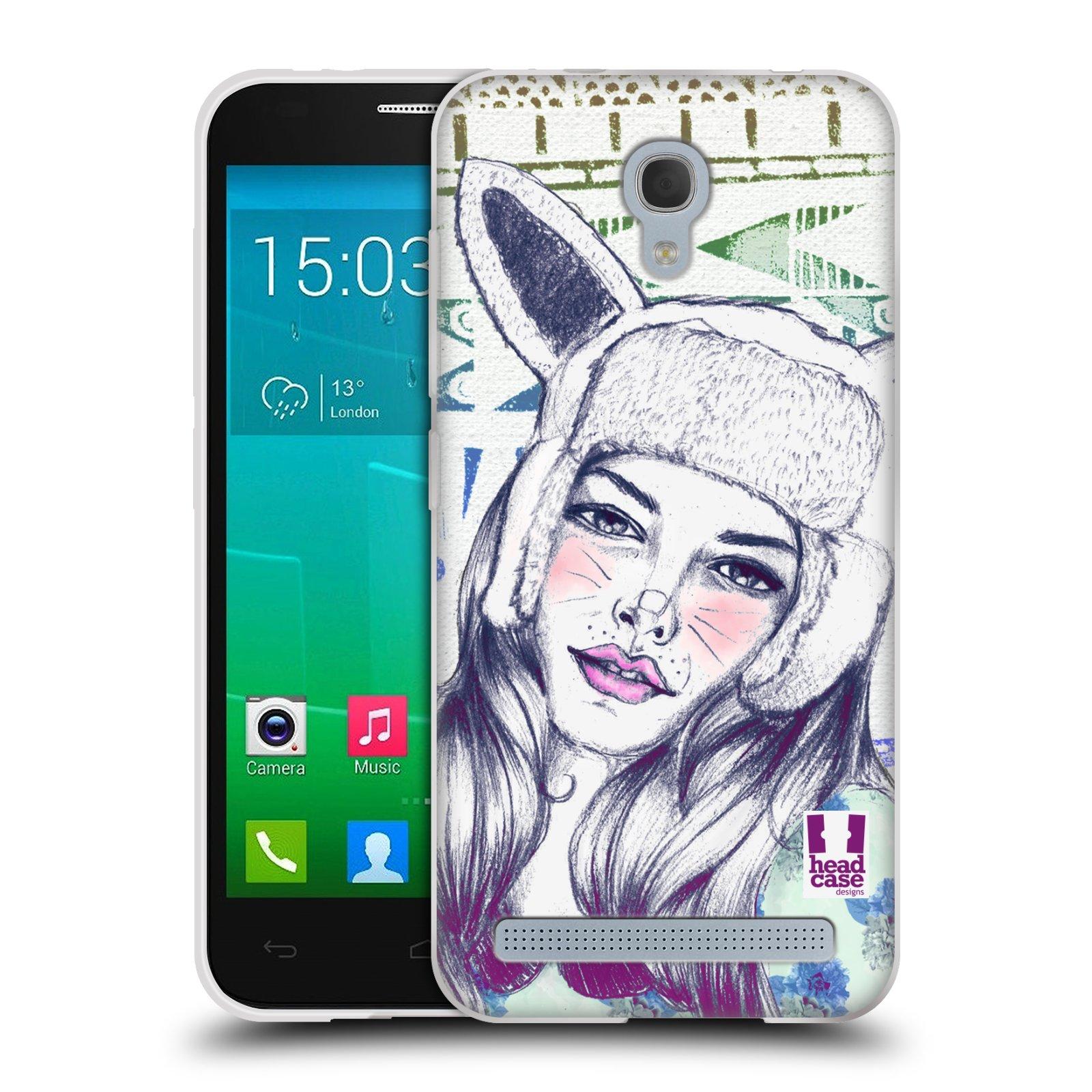 HEAD CASE silikonový obal na mobil Alcatel Idol 2 MINI S 6036Y vzor Děvče zvířecí tématika zajíček čepka