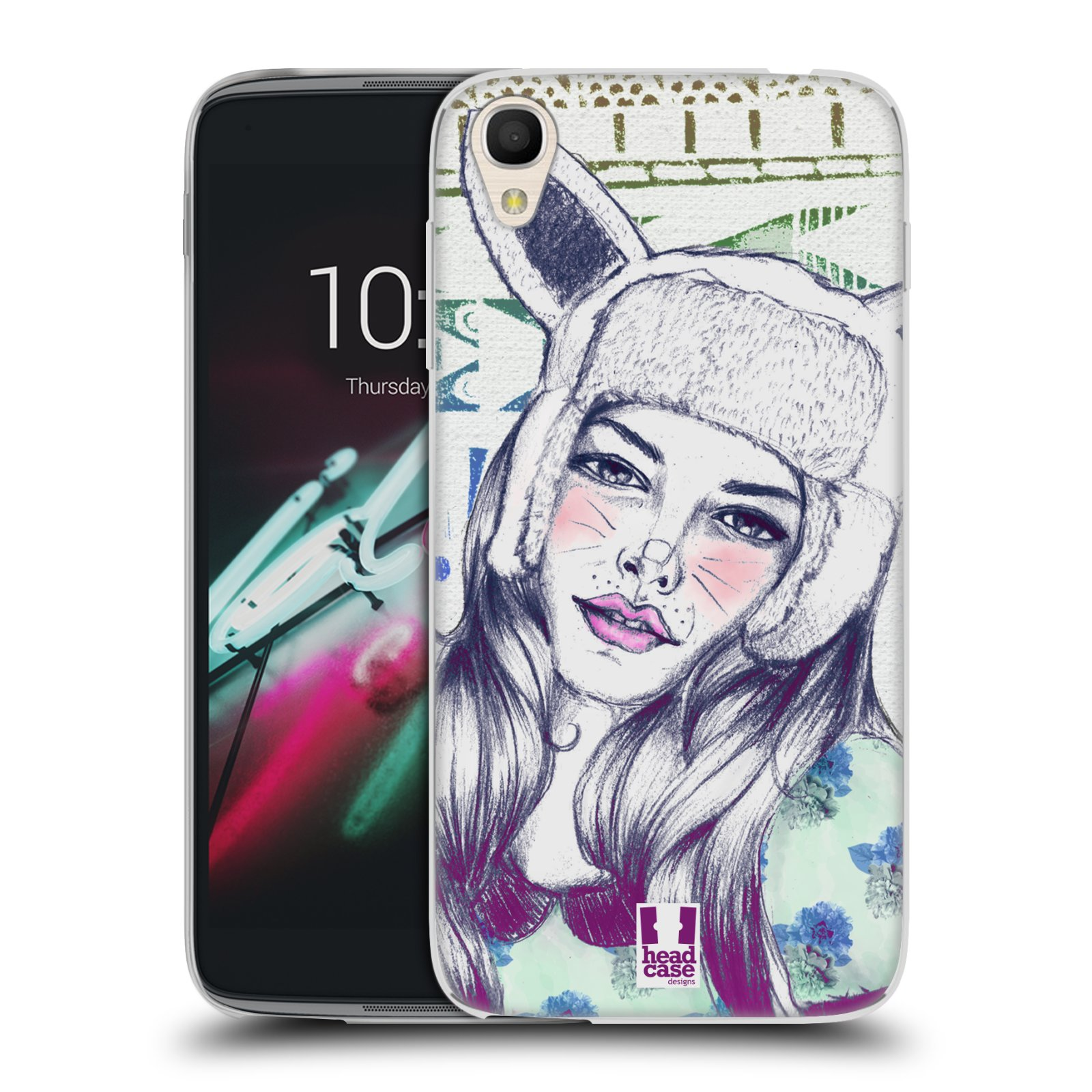 HEAD CASE silikonový obal na mobil Alcatel Idol 3 OT-6039Y (4.7) vzor Děvče zvířecí tématika zajíček čepka