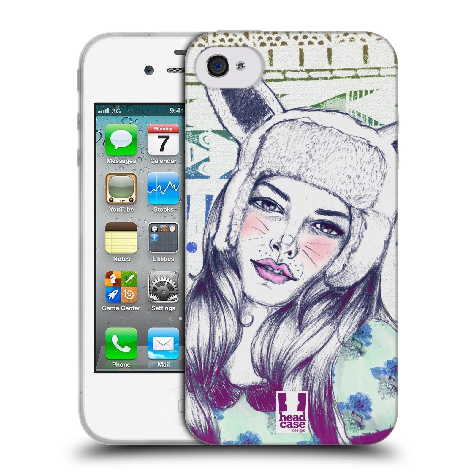 HEAD CASE silikonový obal na mobil Apple Iphone 4/4S vzor Děvče zvířecí tématika zajíček čepka