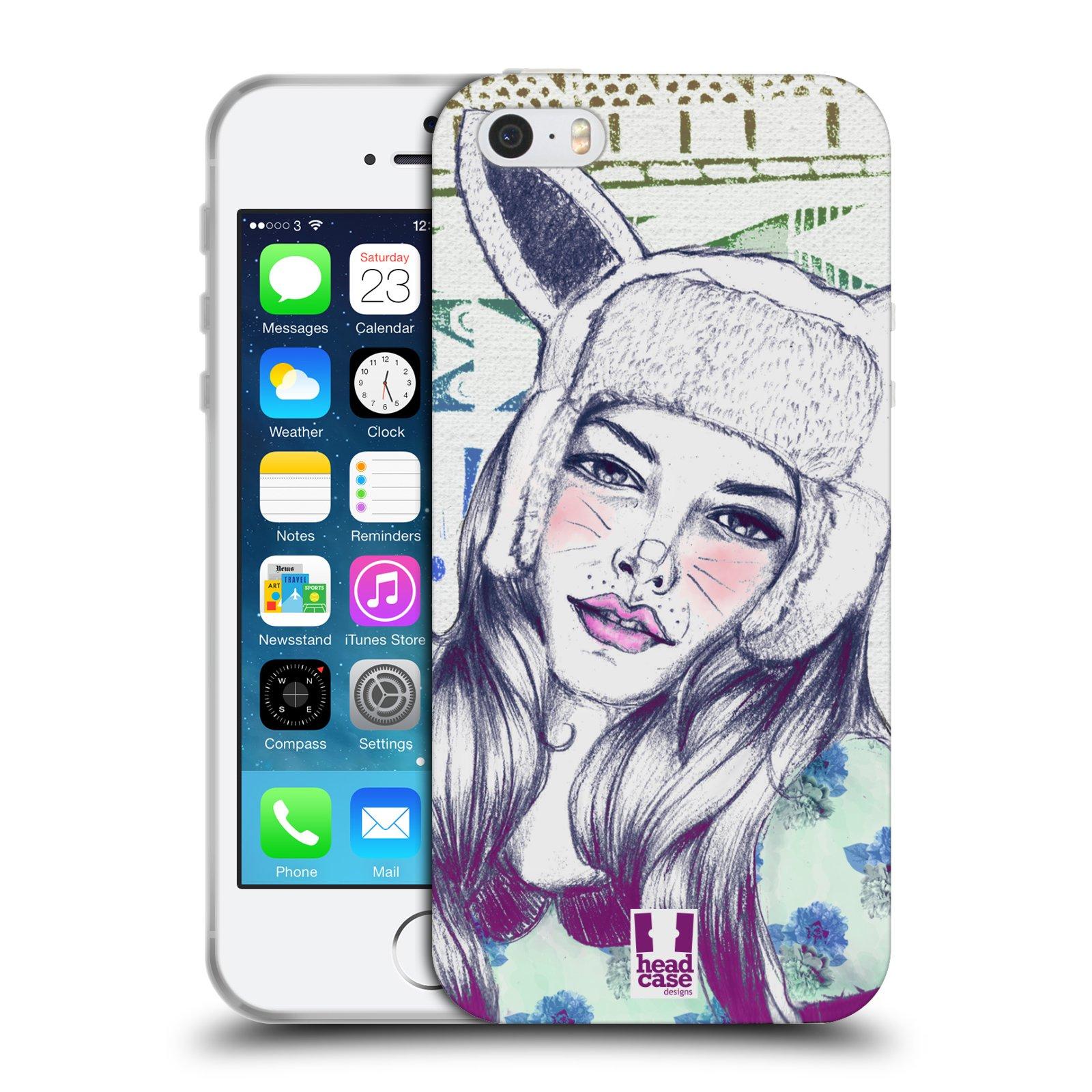 HEAD CASE silikonový obal na mobil Apple Iphone 5/5S vzor Děvče zvířecí tématika zajíček čepka