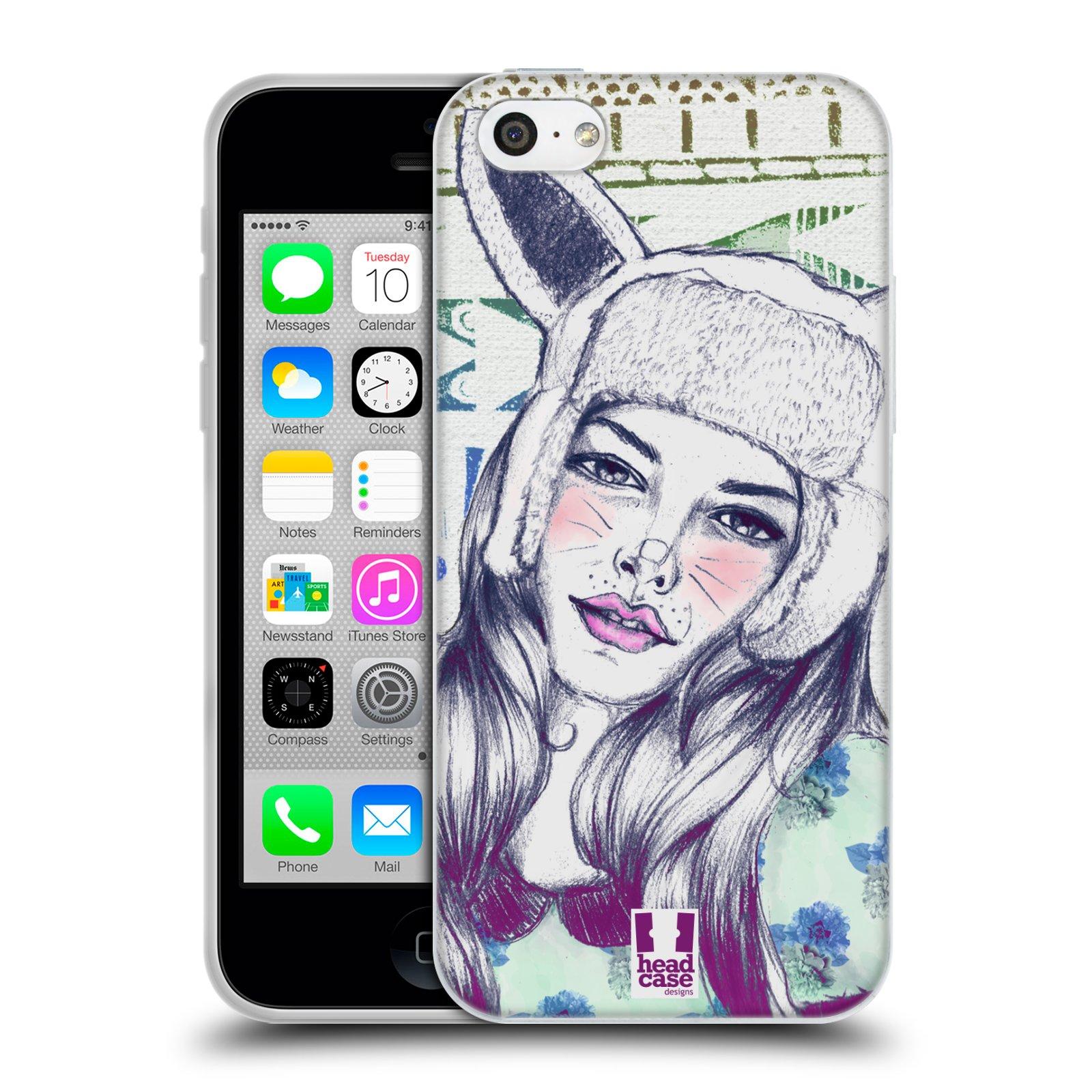 HEAD CASE silikonový obal na mobil Apple Iphone 5C vzor Děvče zvířecí tématika zajíček čepka