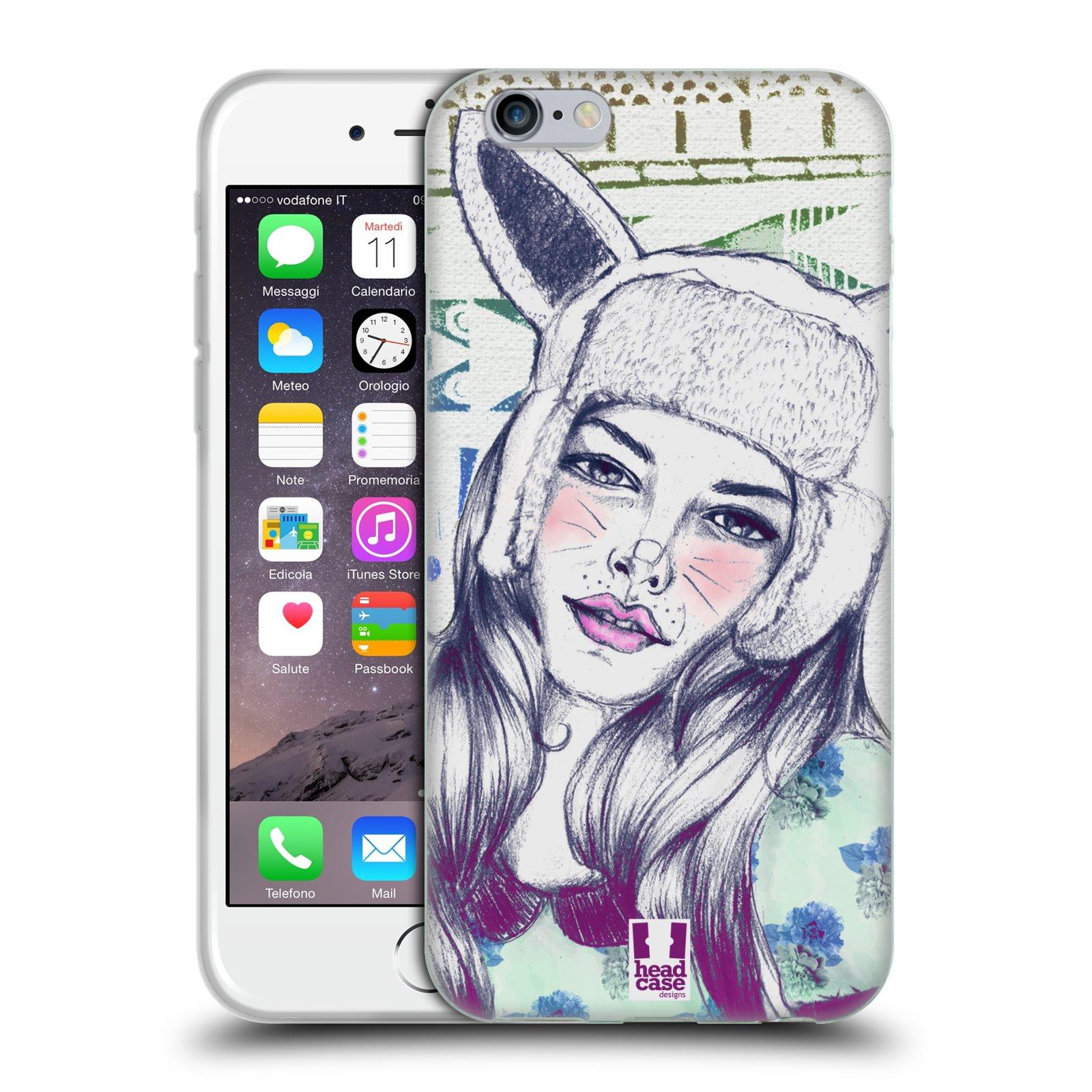 HEAD CASE silikonový obal na mobil Apple Iphone 6/6S vzor Děvče zvířecí tématika zajíček čepka