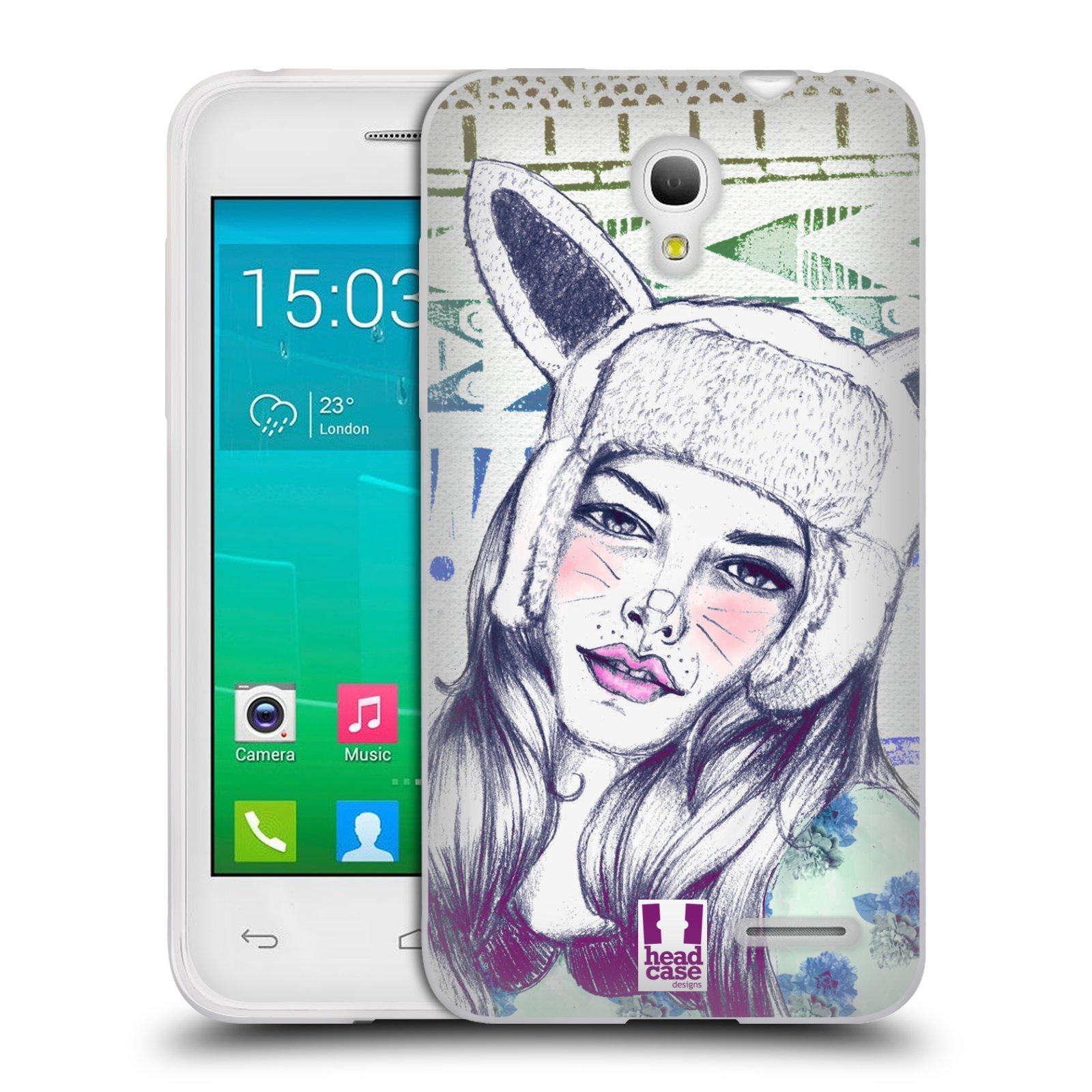 HEAD CASE silikonový obal na mobil Alcatel POP S3 OT-5050Y vzor Děvče zvířecí tématika zajíček čepka