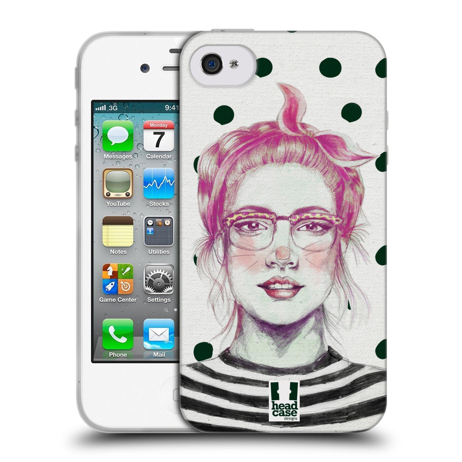HEAD CASE silikonový obal na mobil Apple Iphone 4/4S vzor Děvče zvířecí tématika zajíček puntíky