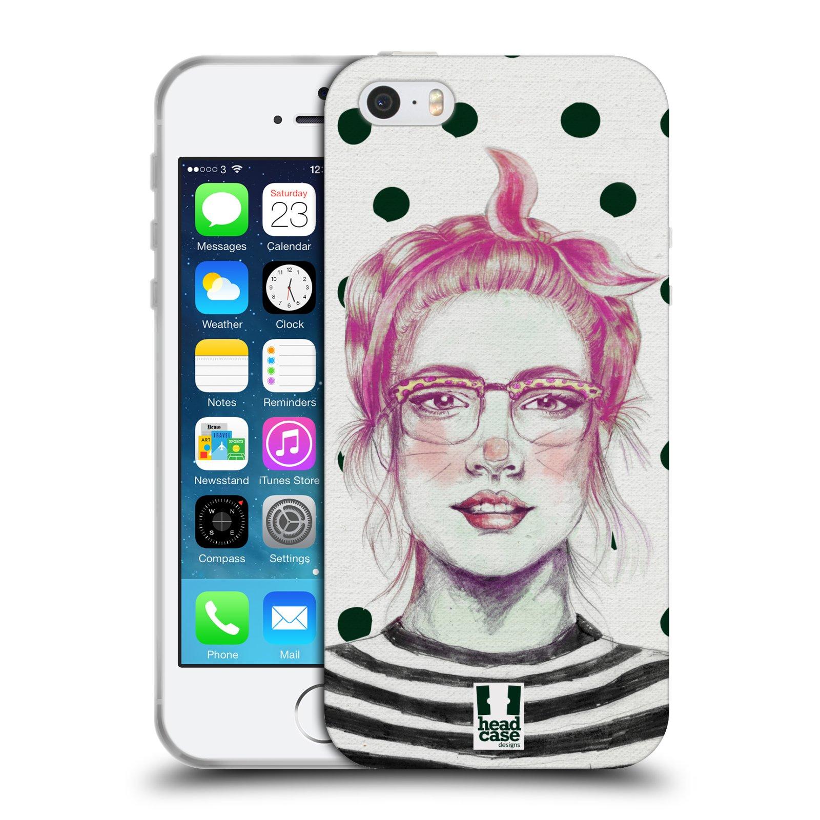HEAD CASE silikonový obal na mobil Apple Iphone 5/5S vzor Děvče zvířecí tématika zajíček puntíky