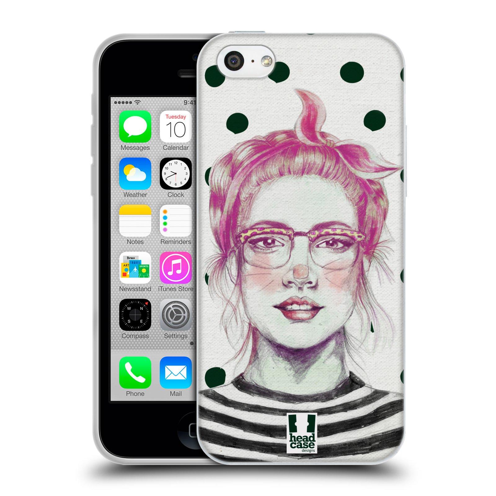 HEAD CASE silikonový obal na mobil Apple Iphone 5C vzor Děvče zvířecí tématika zajíček puntíky