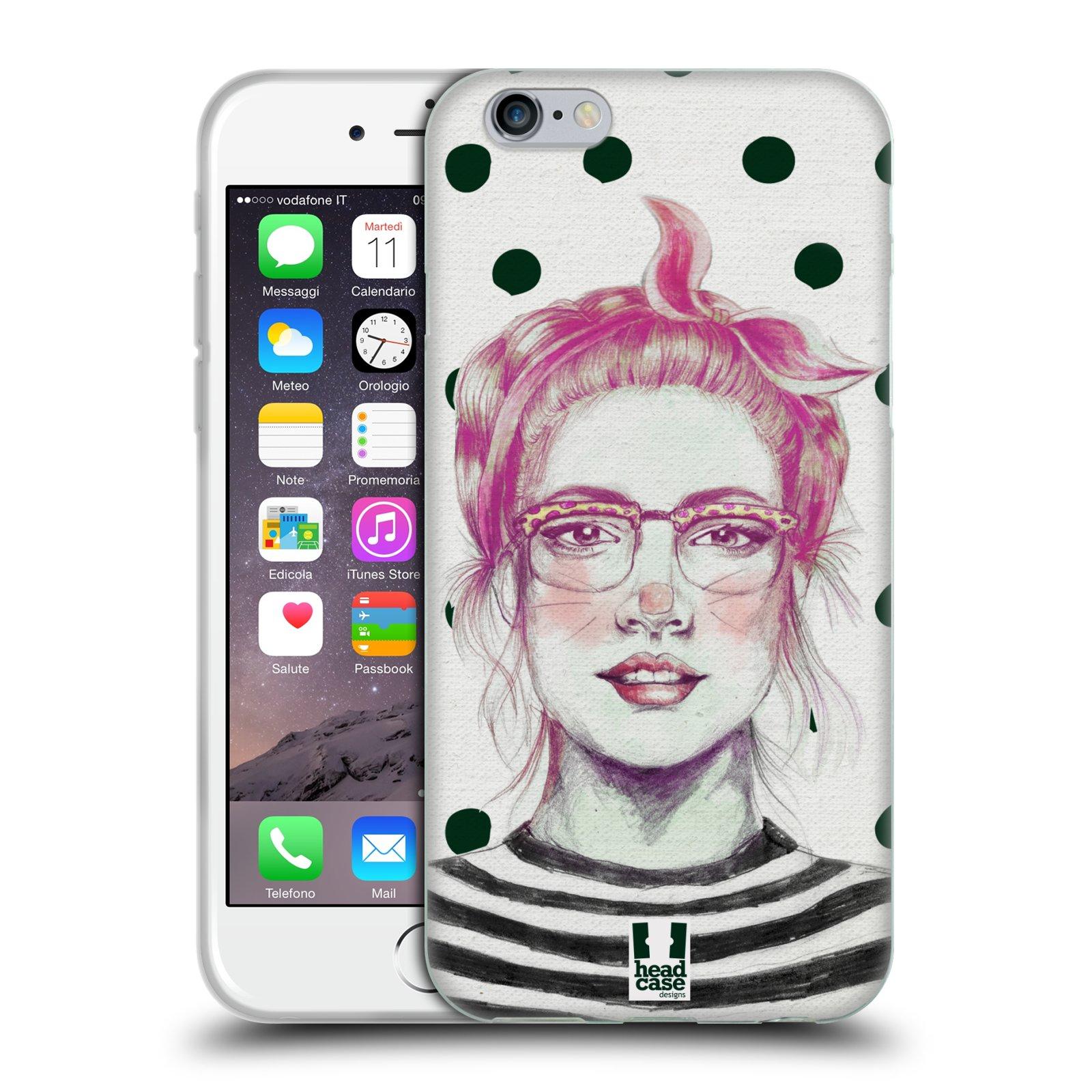 HEAD CASE silikonový obal na mobil Apple Iphone 6/6S vzor Děvče zvířecí tématika zajíček puntíky