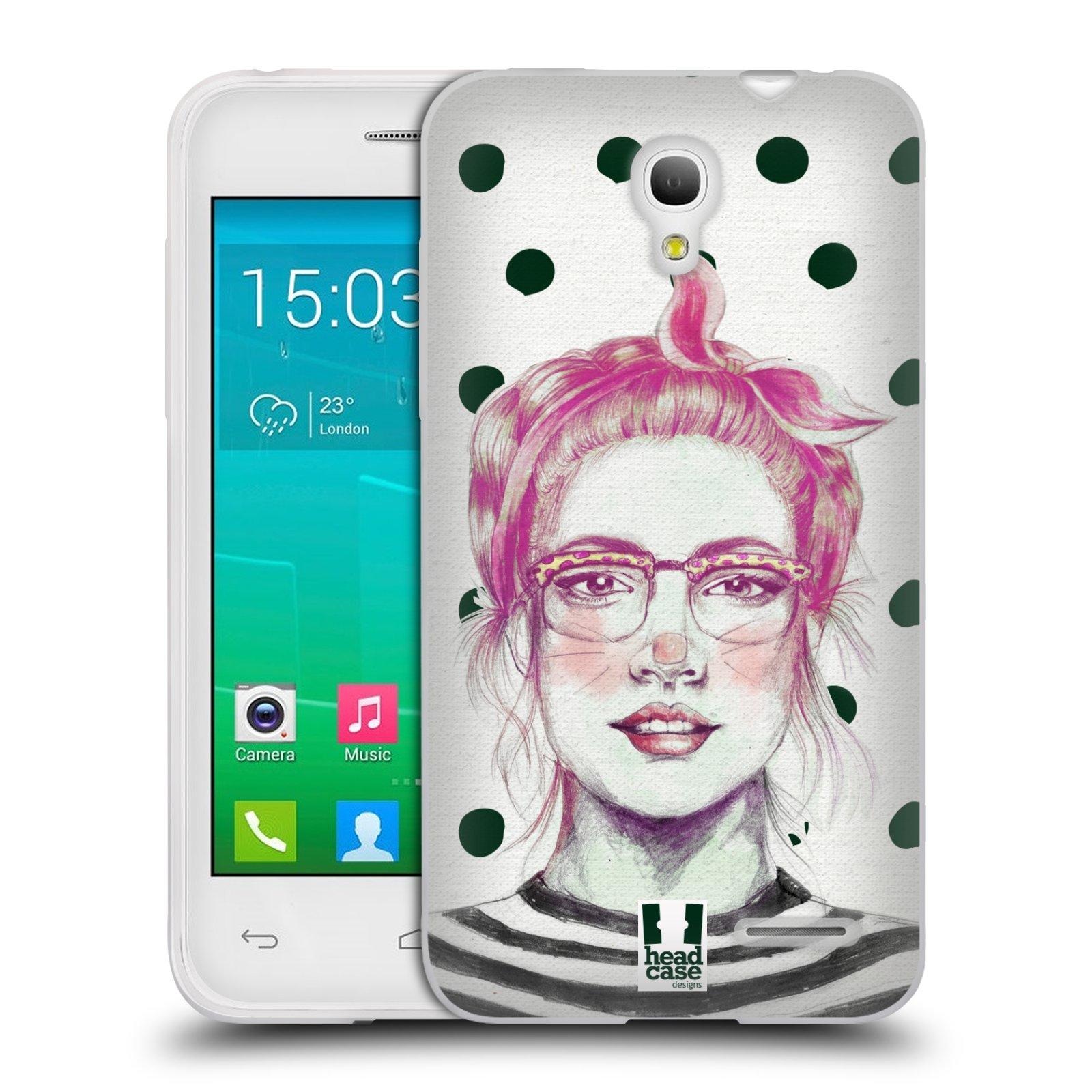 HEAD CASE silikonový obal na mobil Alcatel POP S3 OT-5050Y vzor Děvče zvířecí tématika zajíček puntíky
