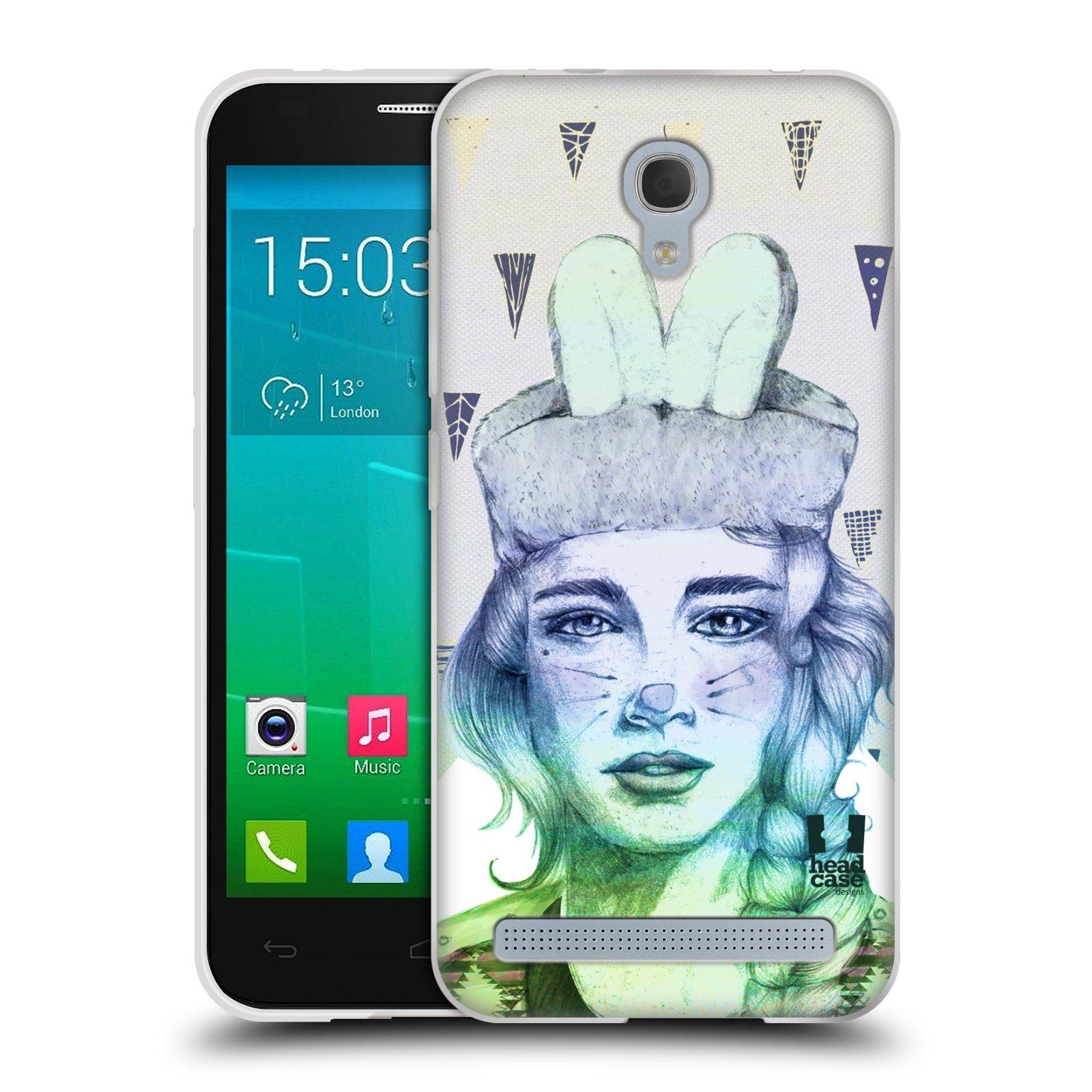 HEAD CASE silikonový obal na mobil Alcatel Idol 2 MINI S 6036Y vzor Děvče zvířecí tématika zajíček triangl
