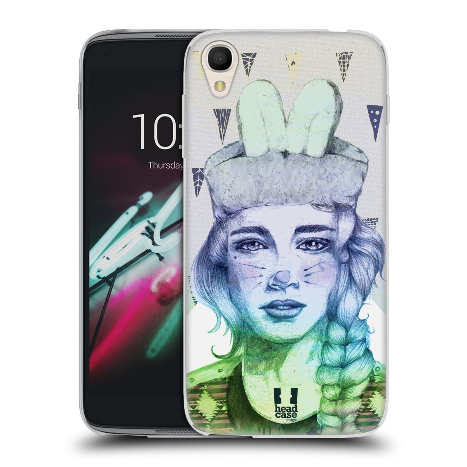 HEAD CASE silikonový obal na mobil Alcatel Idol 3 OT-6039Y (4.7) vzor Děvče zvířecí tématika zajíček triangl