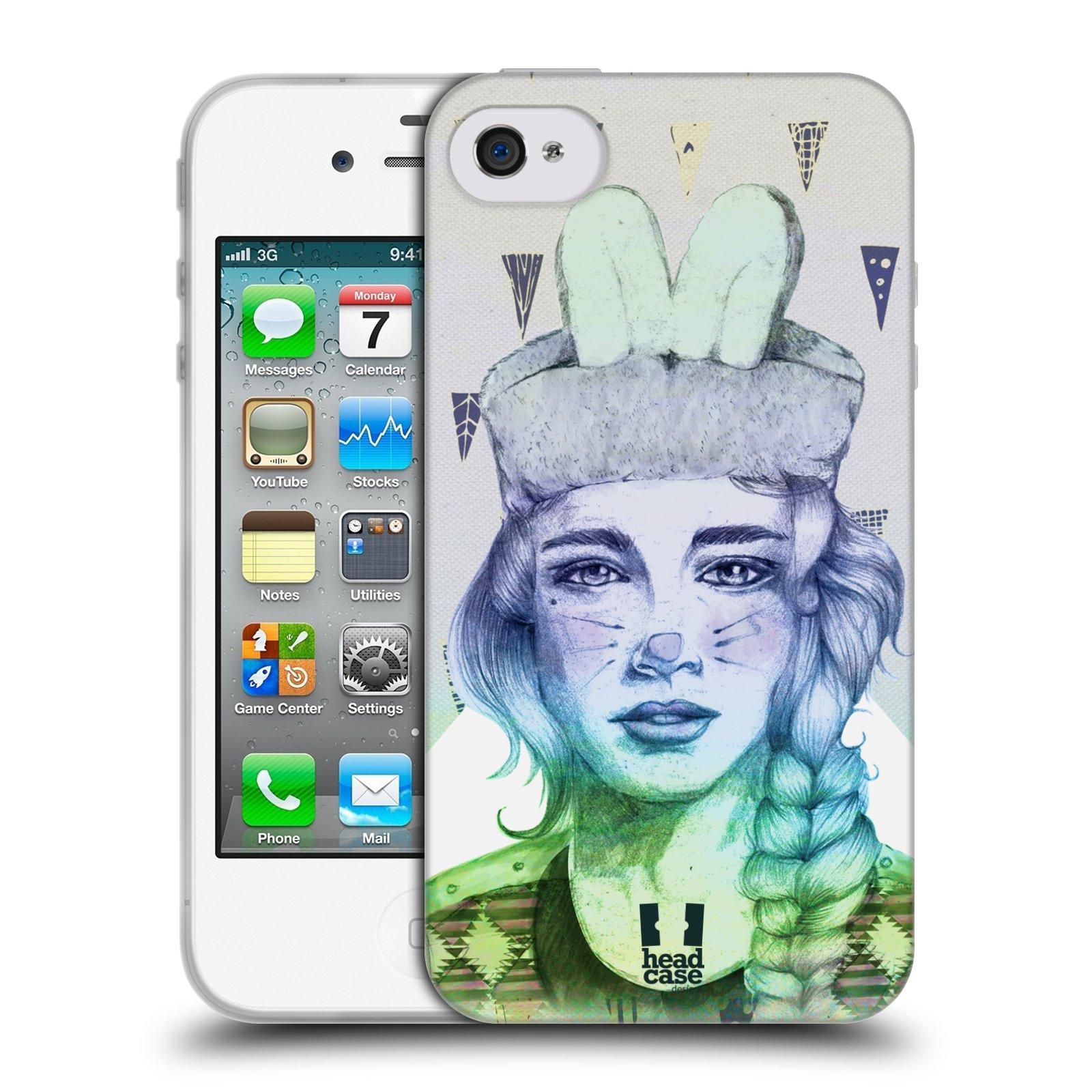 HEAD CASE silikonový obal na mobil Apple Iphone 4/4S vzor Děvče zvířecí tématika zajíček triangl