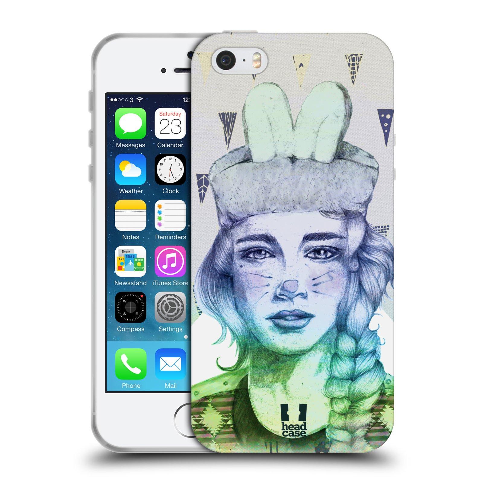 HEAD CASE silikonový obal na mobil Apple Iphone 5/5S vzor Děvče zvířecí tématika zajíček triangl