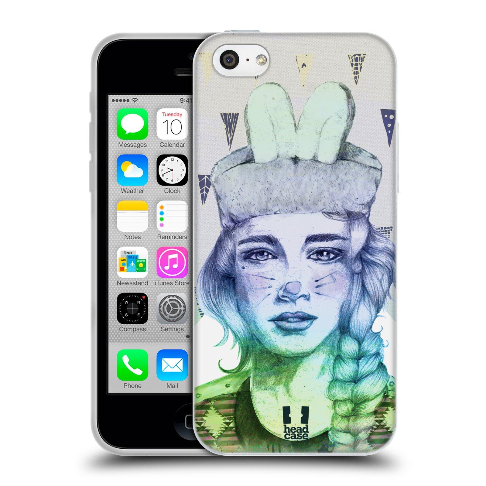 HEAD CASE silikonový obal na mobil Apple Iphone 5C vzor Děvče zvířecí tématika zajíček triangl