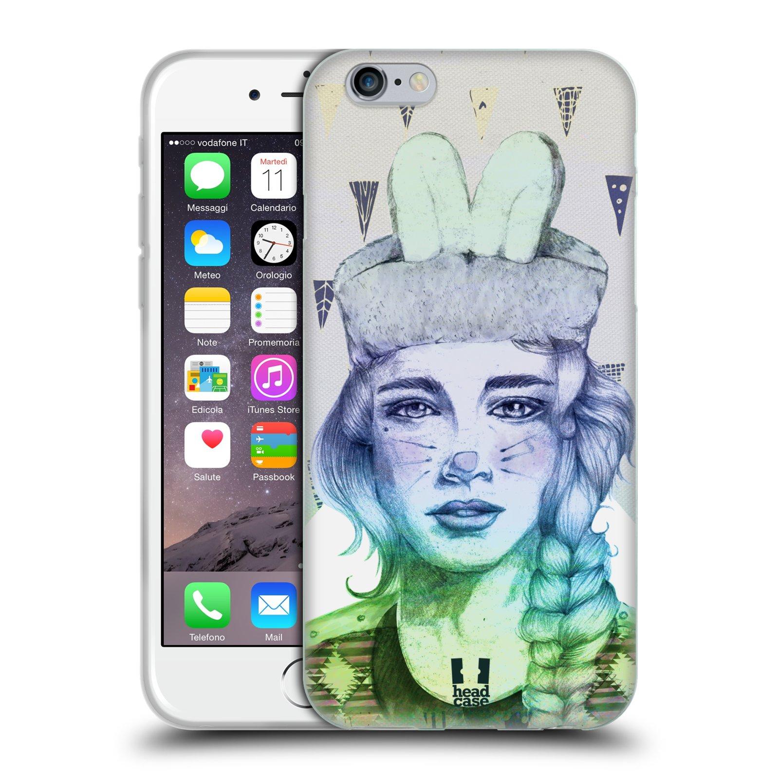 HEAD CASE silikonový obal na mobil Apple Iphone 6/6S vzor Děvče zvířecí tématika zajíček triangl