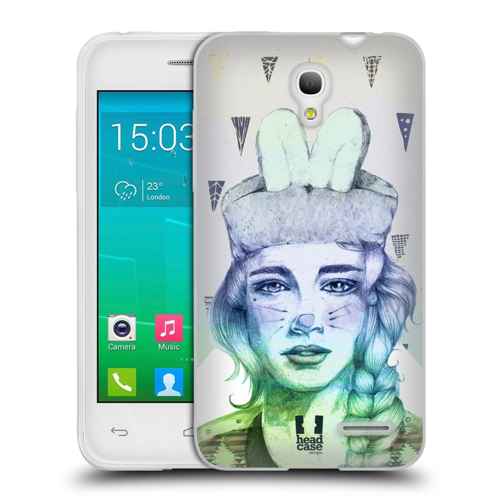 HEAD CASE silikonový obal na mobil Alcatel POP S3 OT-5050Y vzor Děvče zvířecí tématika zajíček triangl