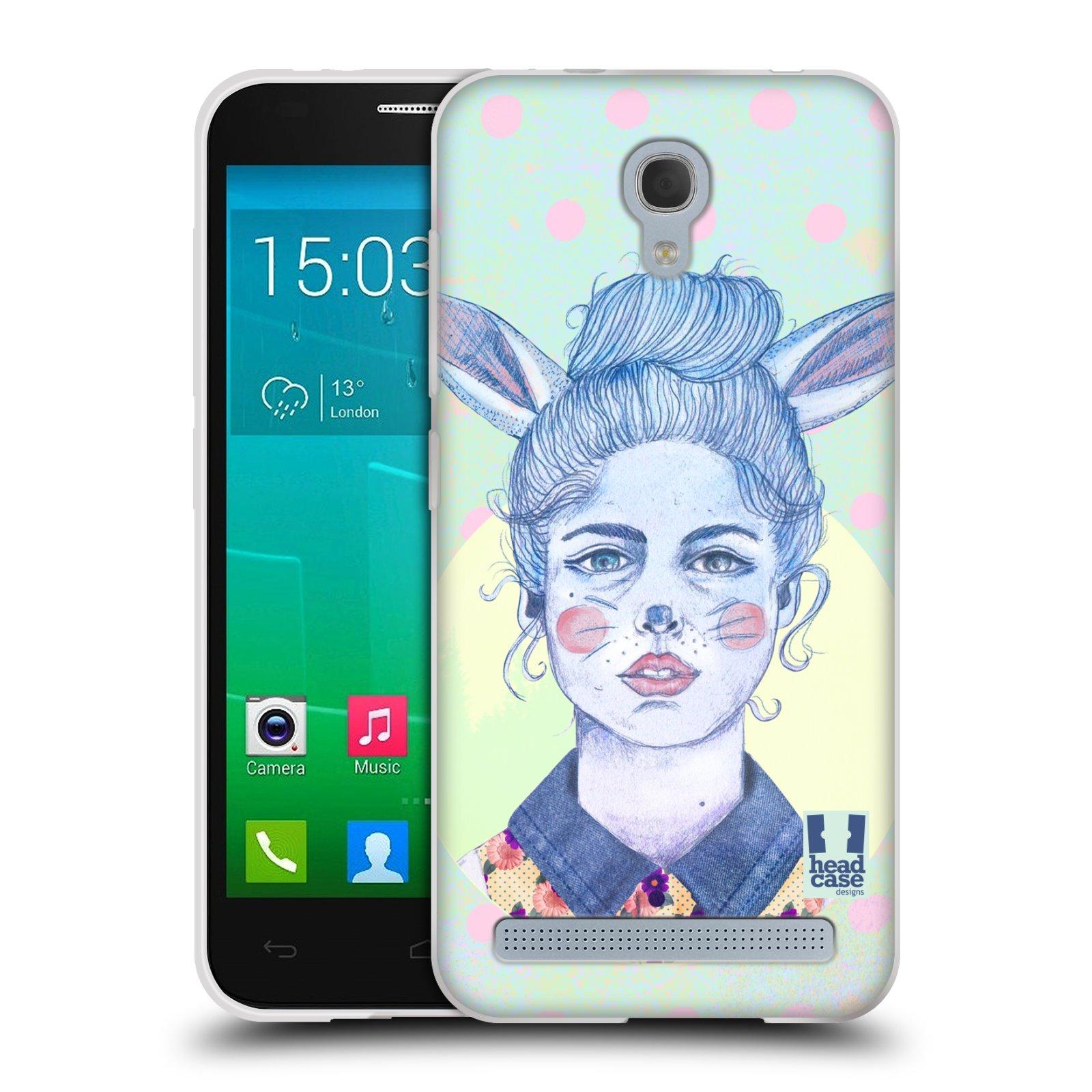 HEAD CASE silikonový obal na mobil Alcatel Idol 2 MINI S 6036Y vzor Děvče zvířecí tématika zajíček zima