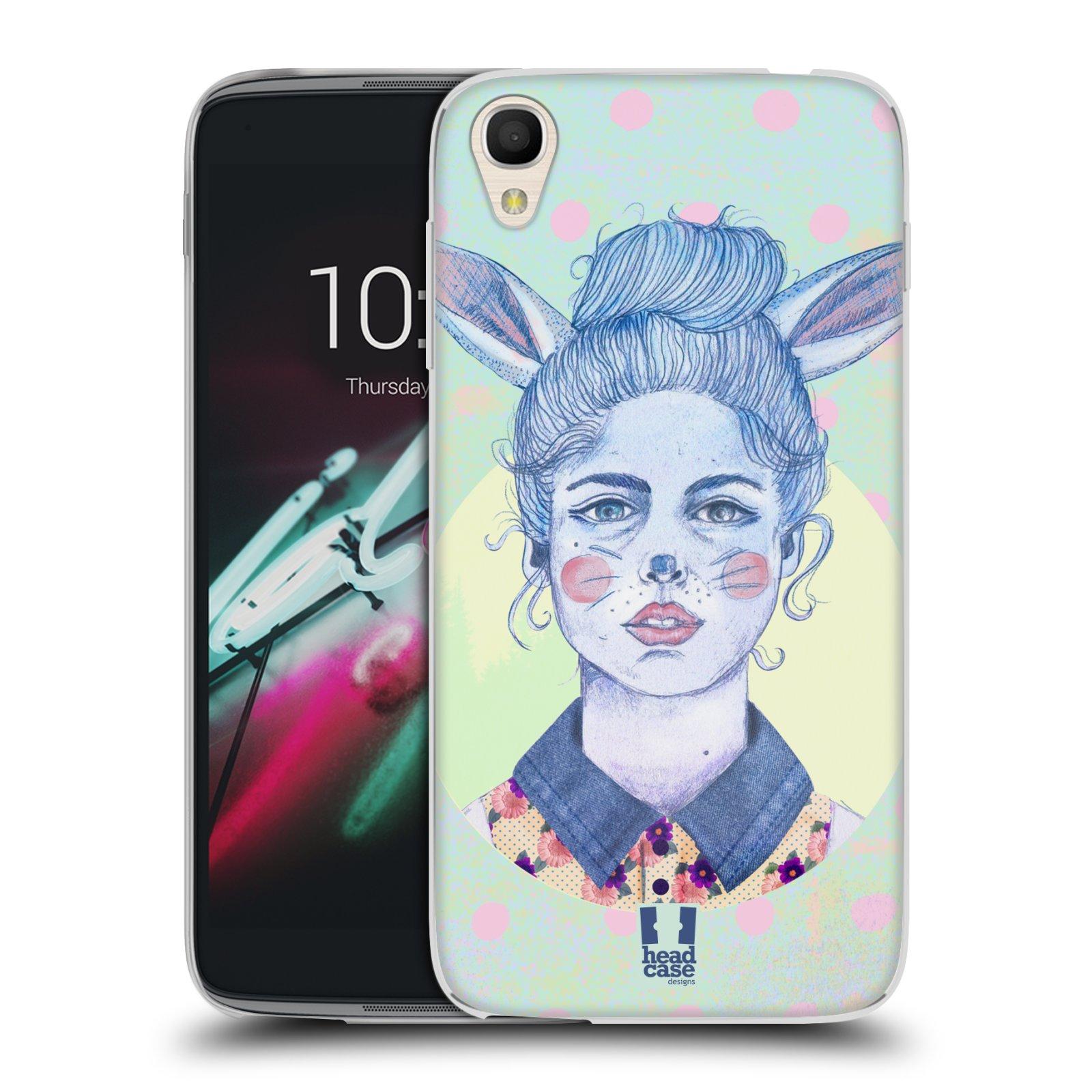 HEAD CASE silikonový obal na mobil Alcatel Idol 3 OT-6039Y (4.7) vzor Děvče zvířecí tématika zajíček zima
