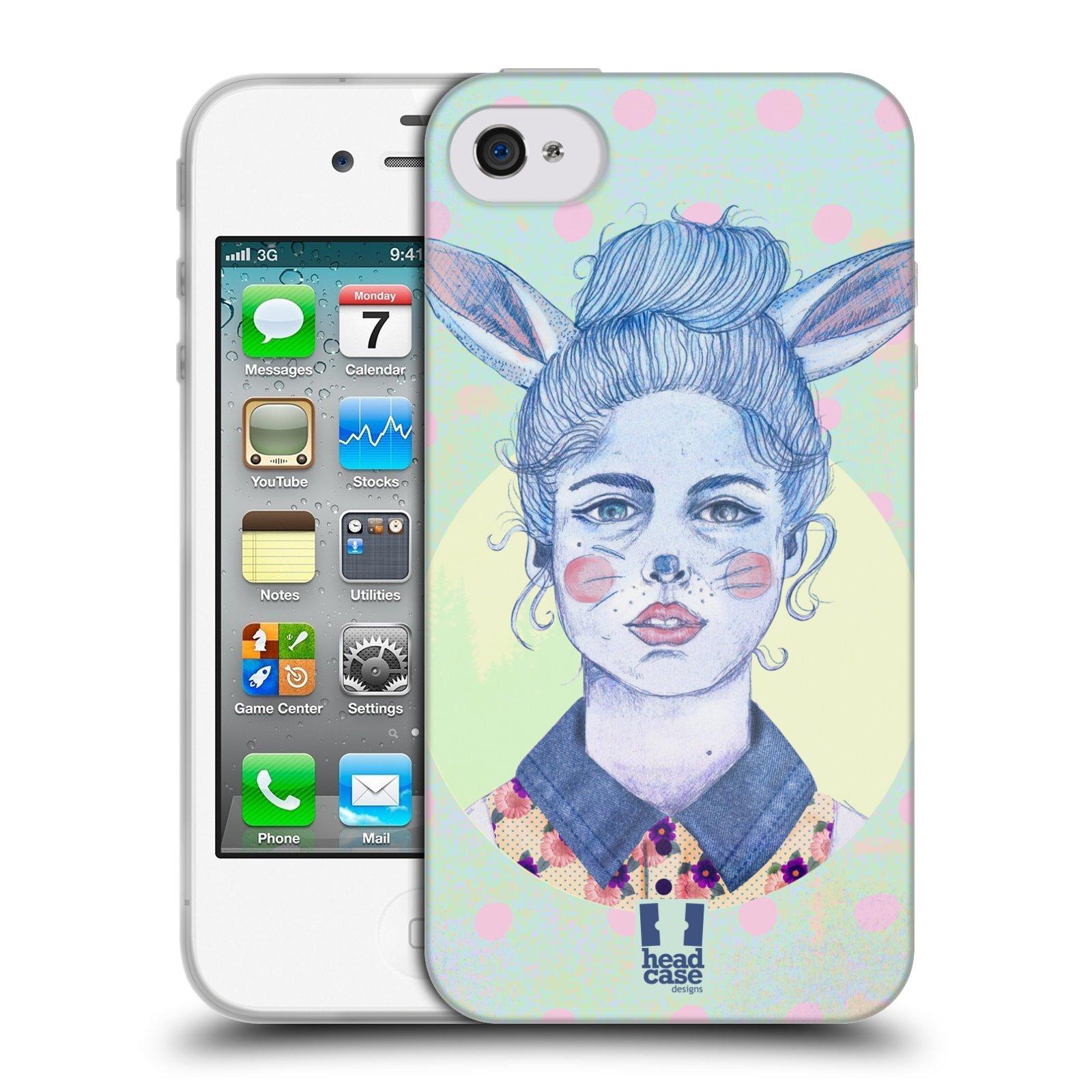 HEAD CASE silikonový obal na mobil Apple Iphone 4/4S vzor Děvče zvířecí tématika zajíček zima