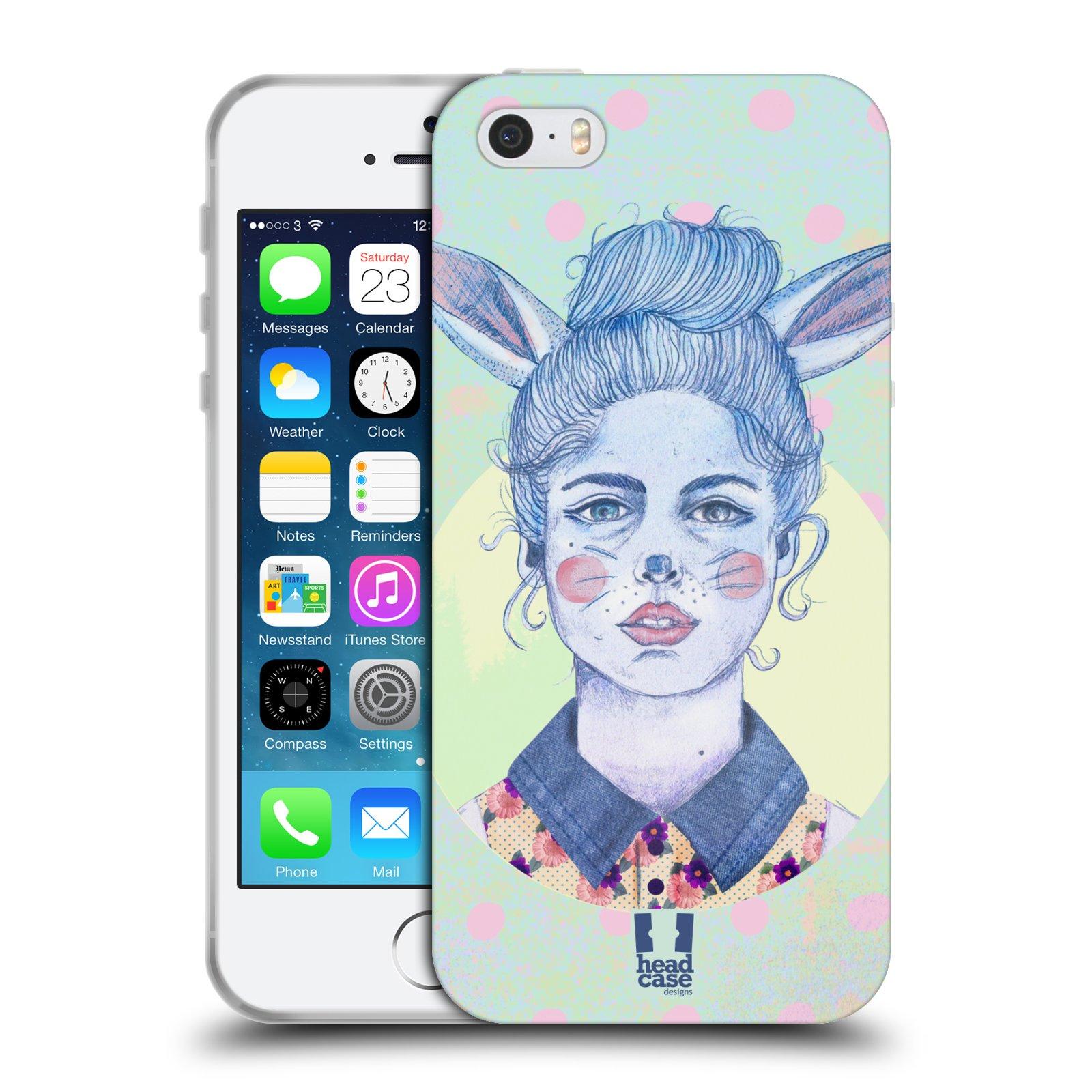 HEAD CASE silikonový obal na mobil Apple Iphone 5/5S vzor Děvče zvířecí tématika zajíček zima