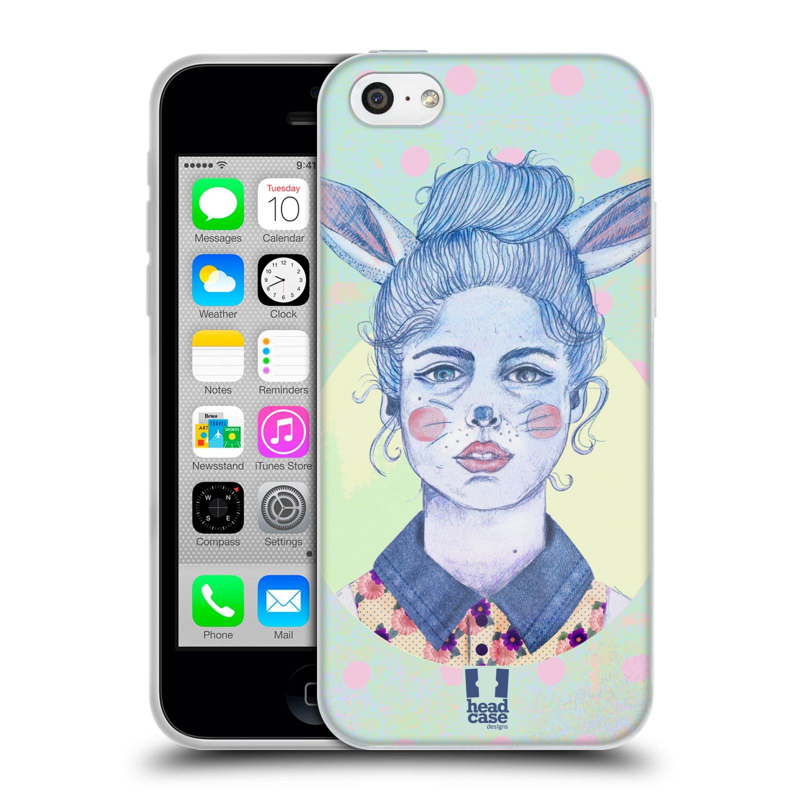 HEAD CASE silikonový obal na mobil Apple Iphone 5C vzor Děvče zvířecí tématika zajíček zima