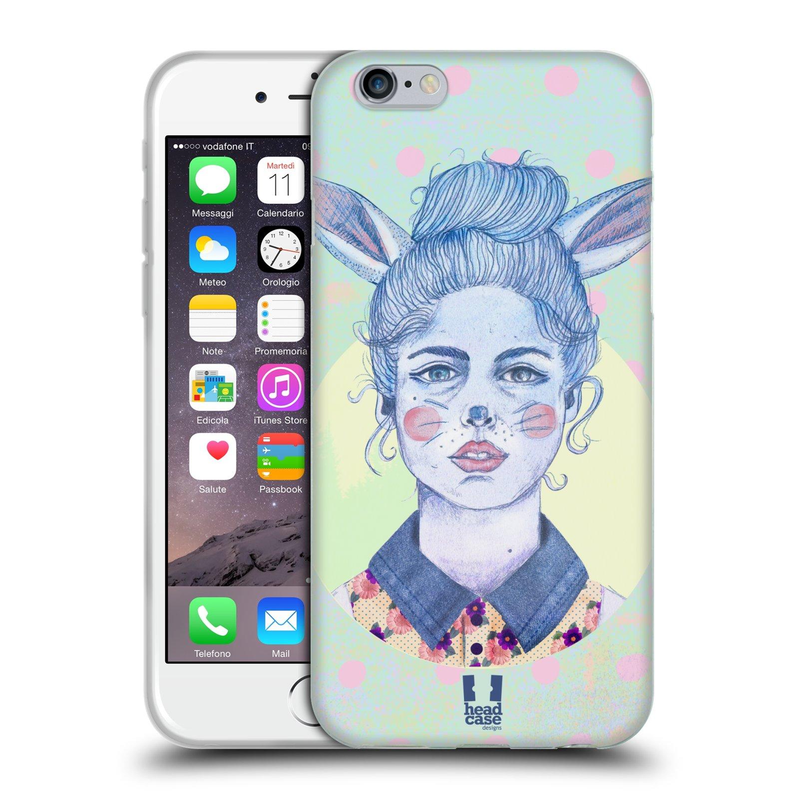 HEAD CASE silikonový obal na mobil Apple Iphone 6/6S vzor Děvče zvířecí tématika zajíček zima