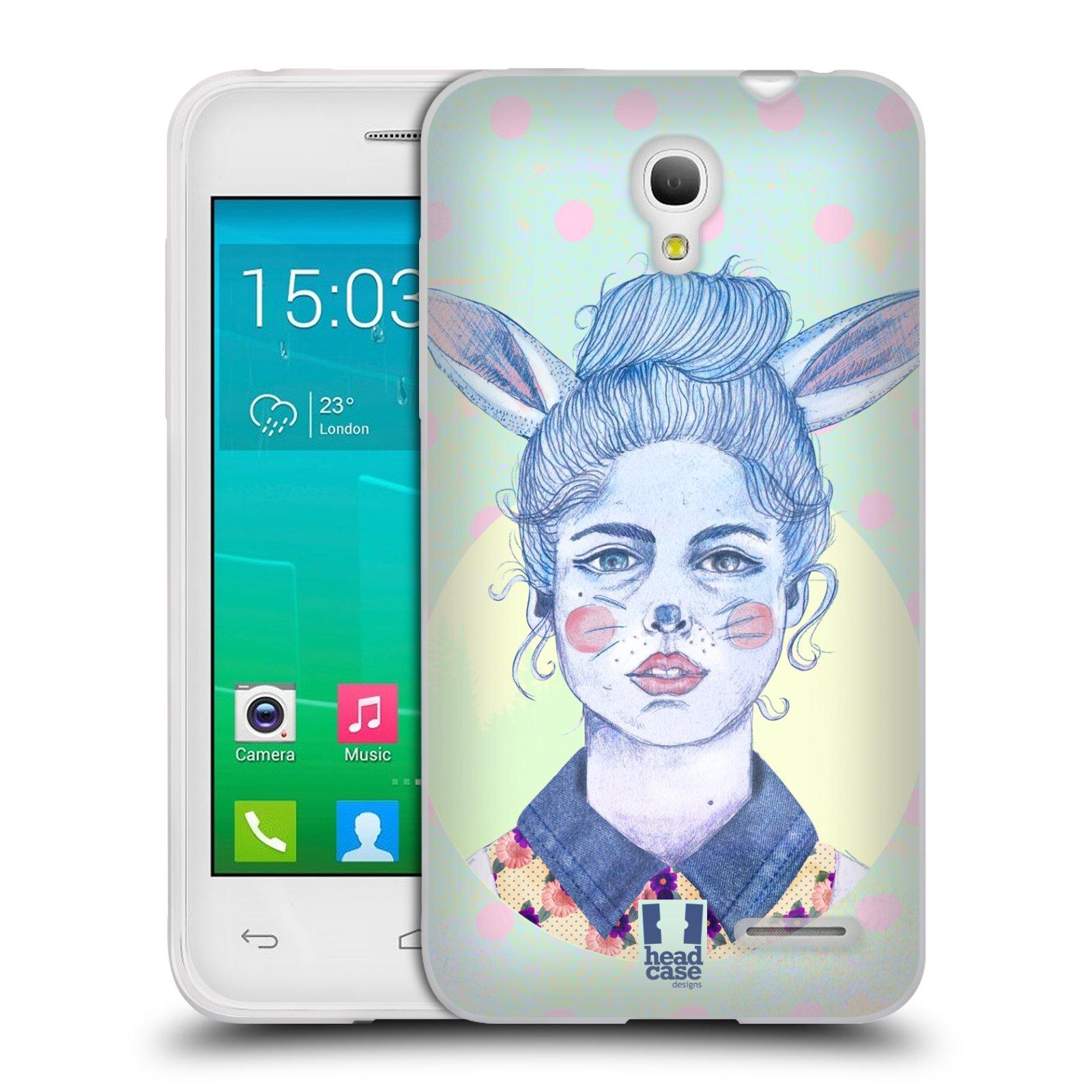 HEAD CASE silikonový obal na mobil Alcatel POP S3 OT-5050Y vzor Děvče zvířecí tématika zajíček zima
