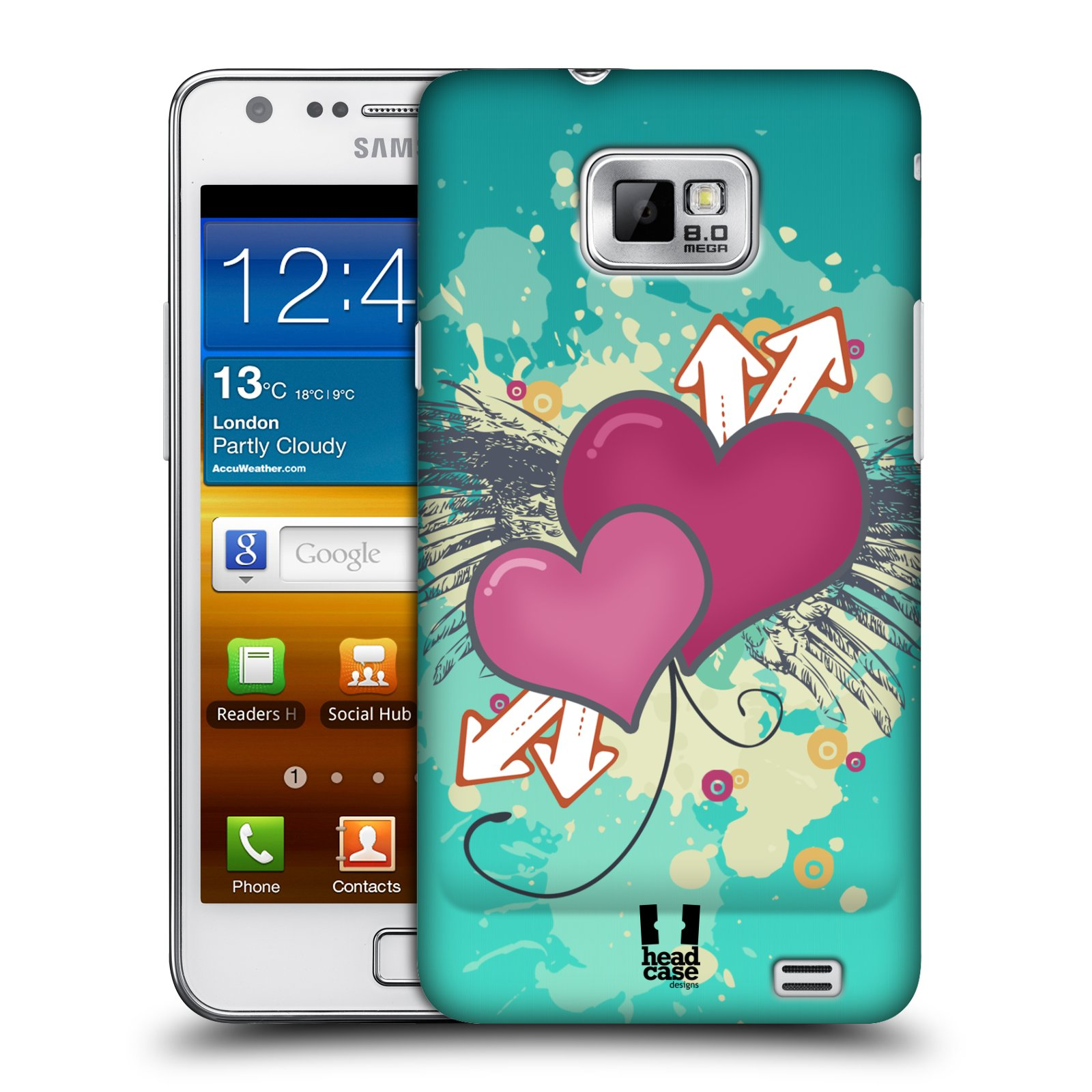 HEAD CASE DESIGNS HEART COLLECTION CASE COVER FOR SAMSUNG GALAXY S2 II I9100