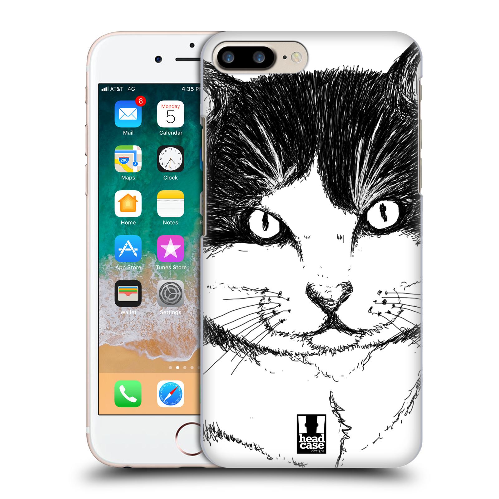 HEAD CASE plastový obal na mobil Apple Iphone 7 PLUS vzor Kreslená zvířátka černá a bílá kočka