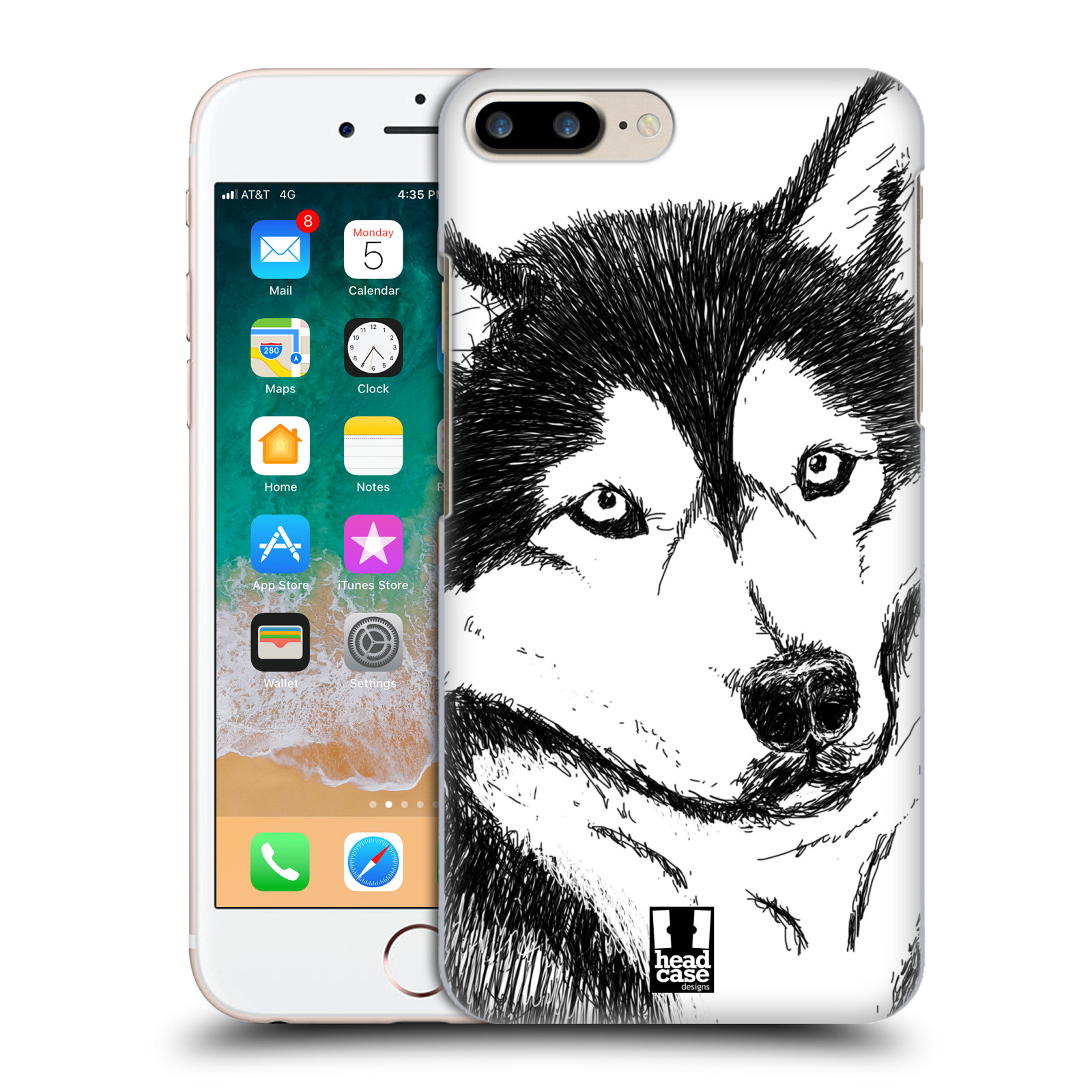 HEAD CASE plastový obal na mobil Apple Iphone 7 PLUS vzor Kreslená zvířátka černá a bílá pes husky