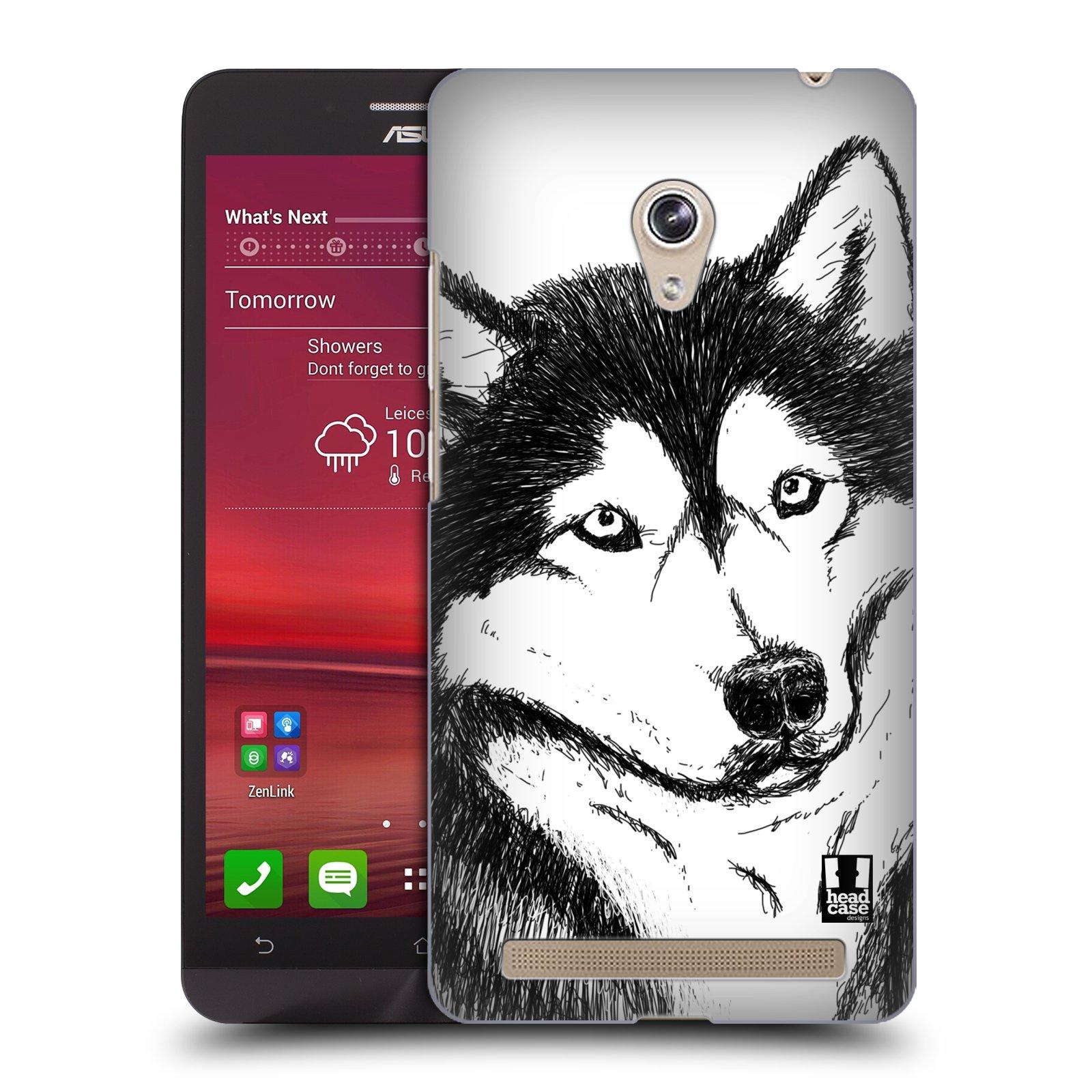 HEAD CASE plastový obal na mobil Asus Zenfone 6 vzor Kreslená zvířátka černá a bílá pes husky
