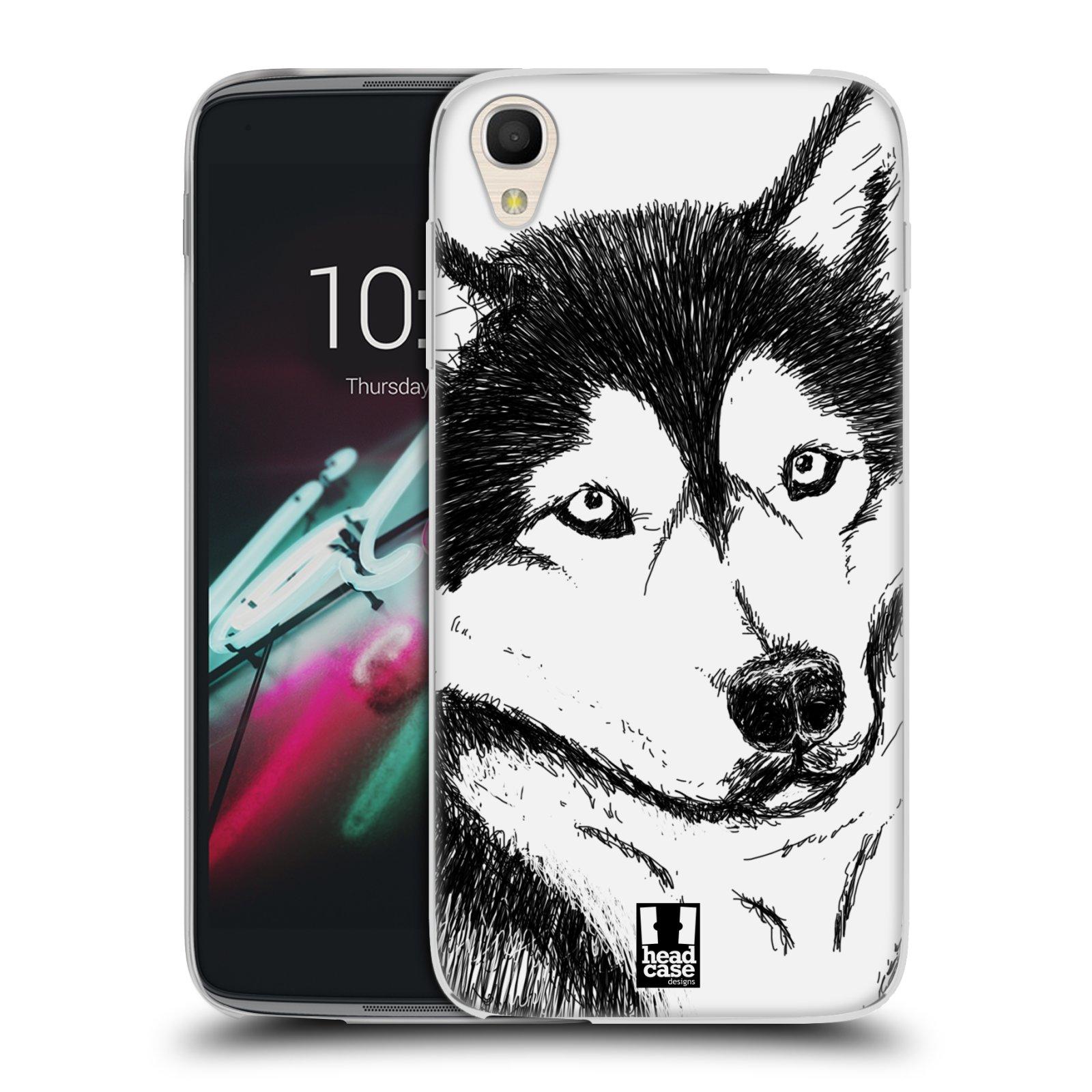 HEAD CASE silikonový obal na mobil Alcatel Idol 3 OT-6039Y (4.7) vzor Kreslená zvířátka černá a bílá pes husky