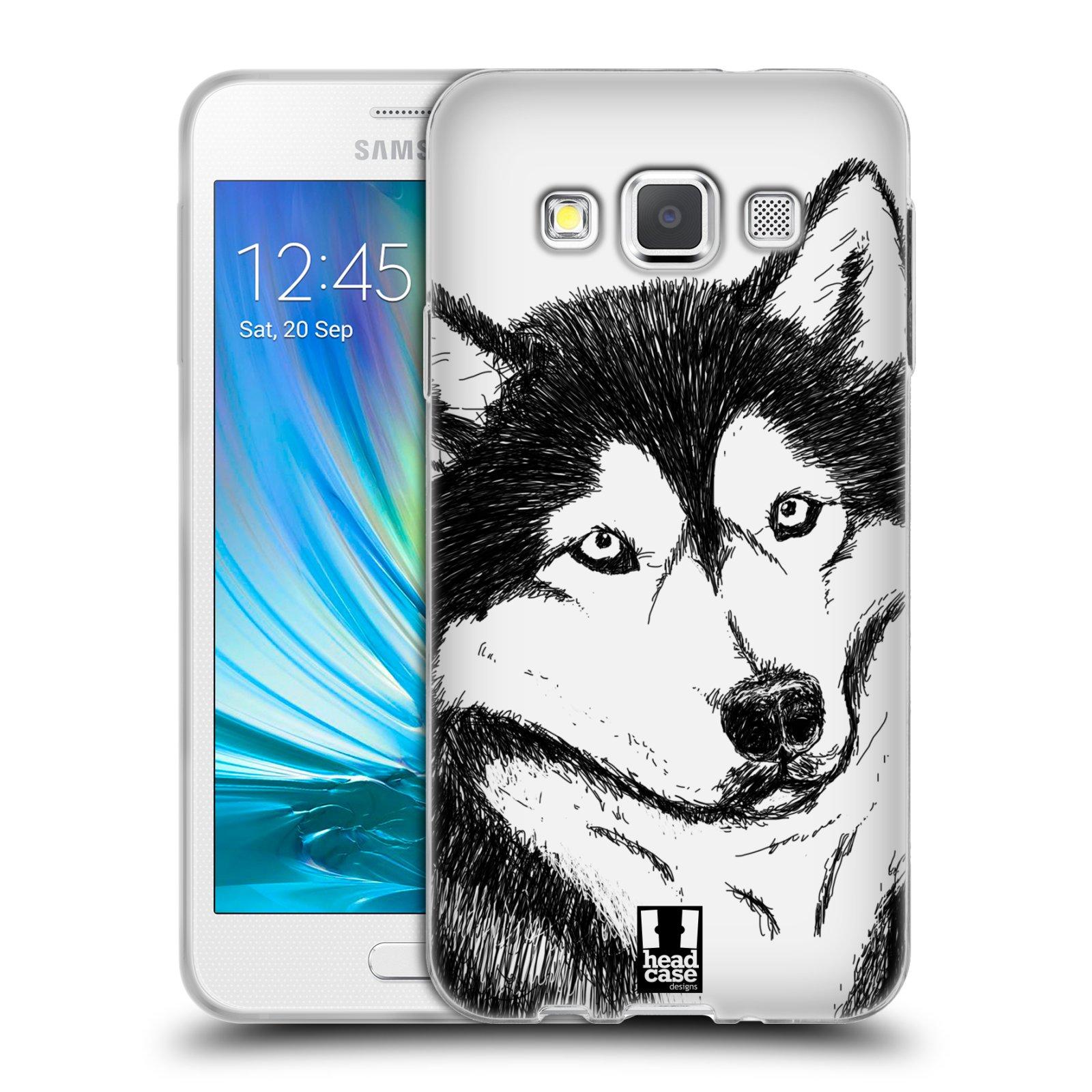 HEAD CASE silikonový obal na mobil Samsung Galaxy A3 vzor Kreslená zvířátka černá a bílá pes husky