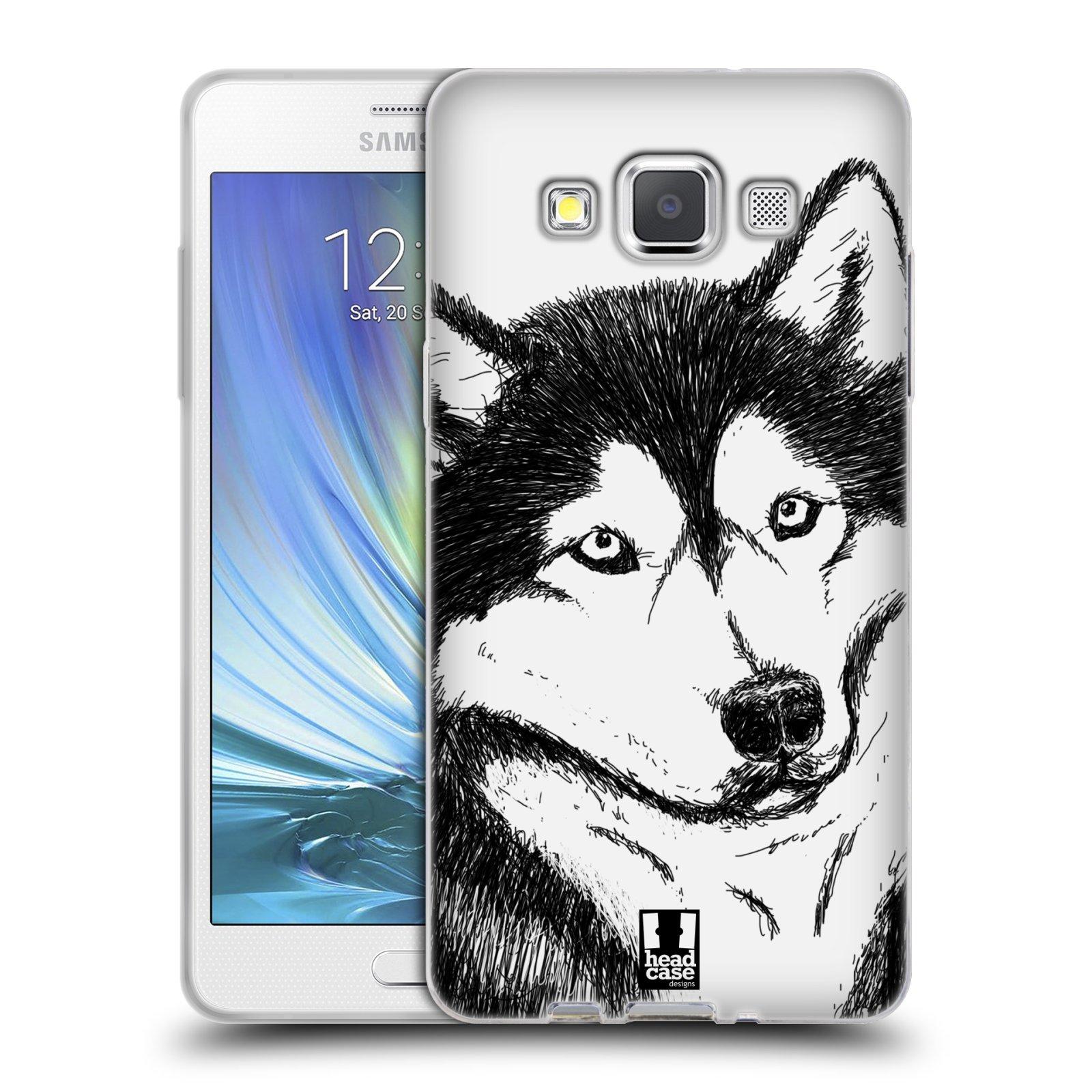 HEAD CASE silikonový obal na mobil Samsung Galaxy A5 vzor Kreslená zvířátka černá a bílá pes husky