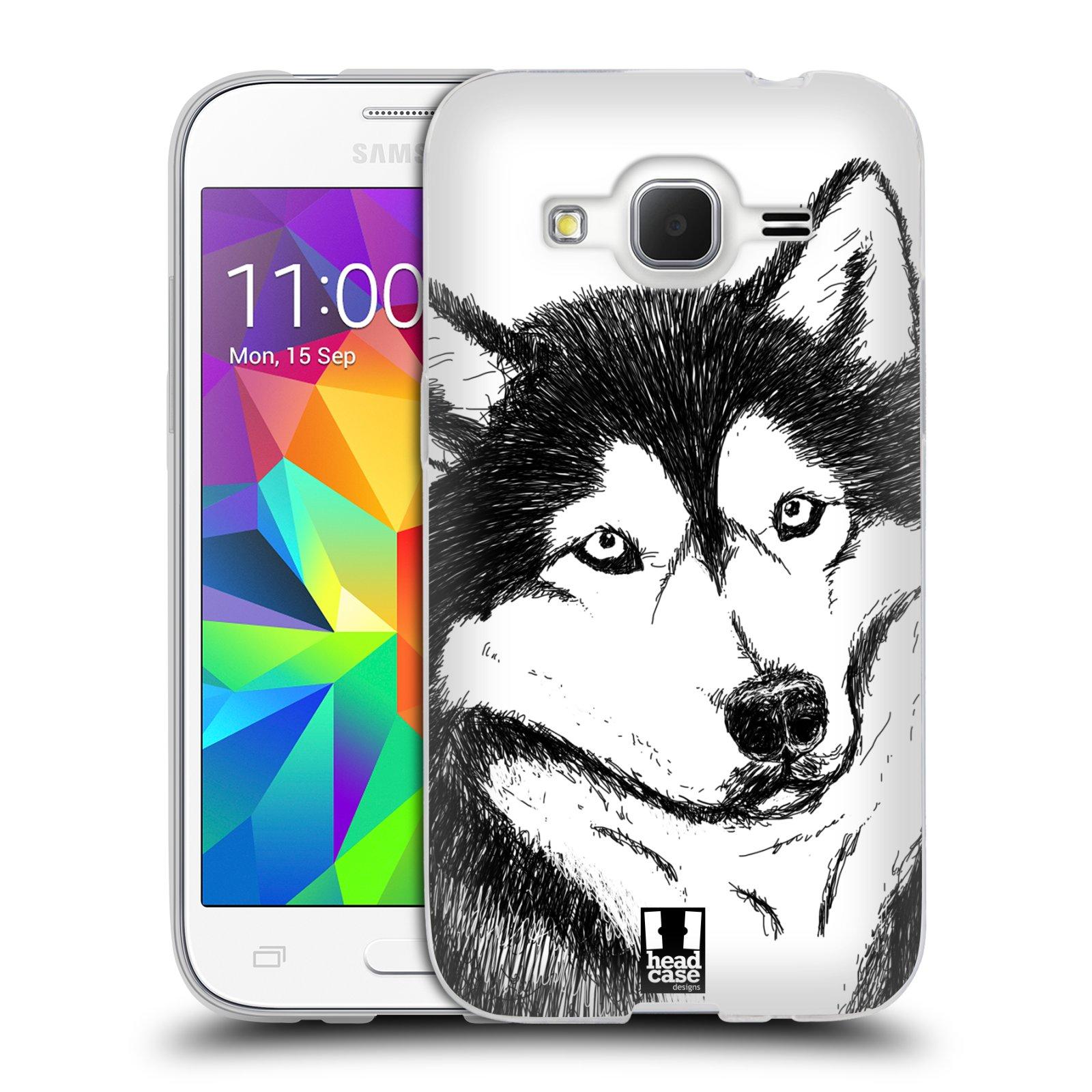 HEAD CASE silikonový obal na mobil Samsung Galaxy Core Prime (G360) vzor Kreslená zvířátka černá a bílá pes husky