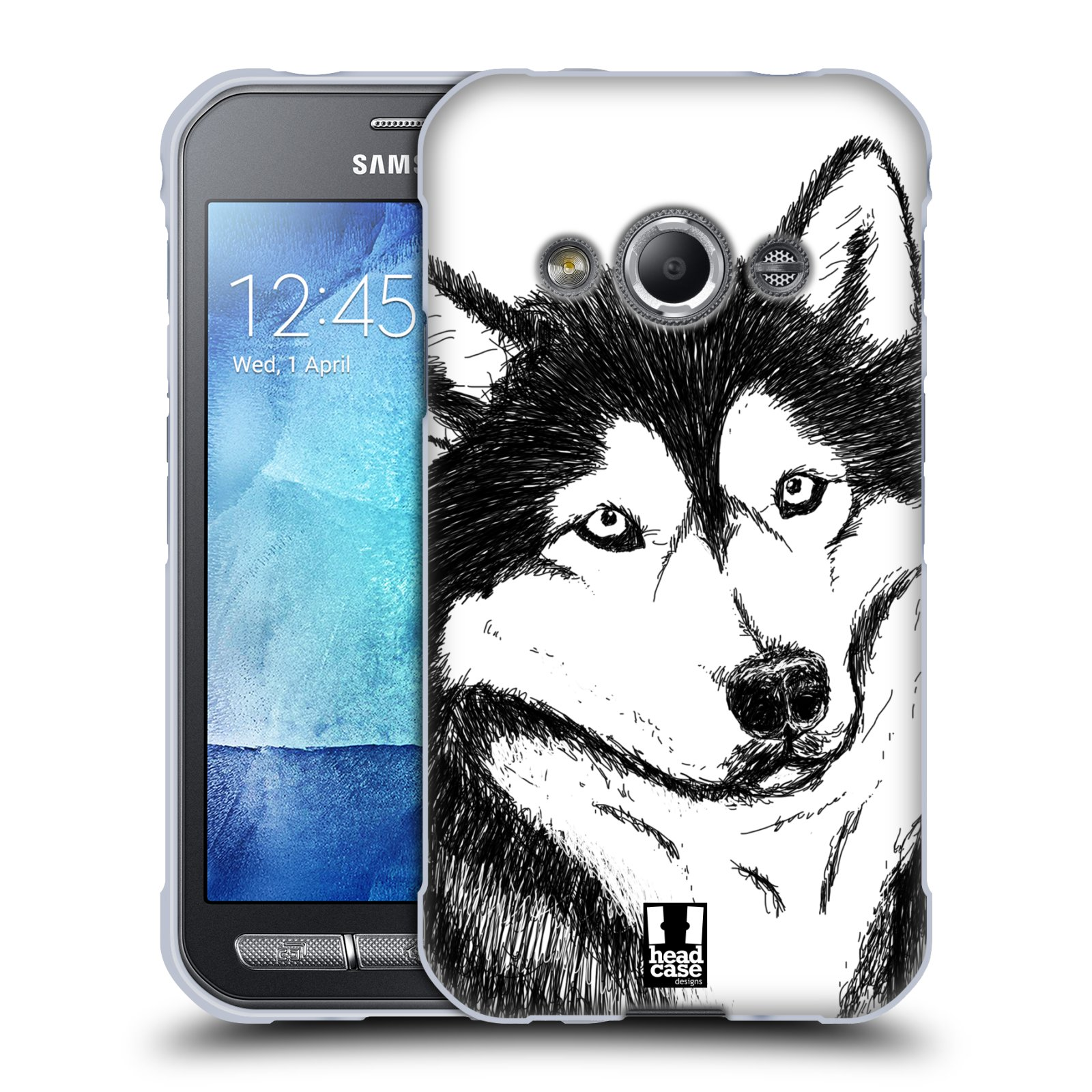 HEAD CASE silikonový obal na mobil Samsung Galaxy Xcover 3 vzor Kreslená zvířátka černá a bílá pes husky