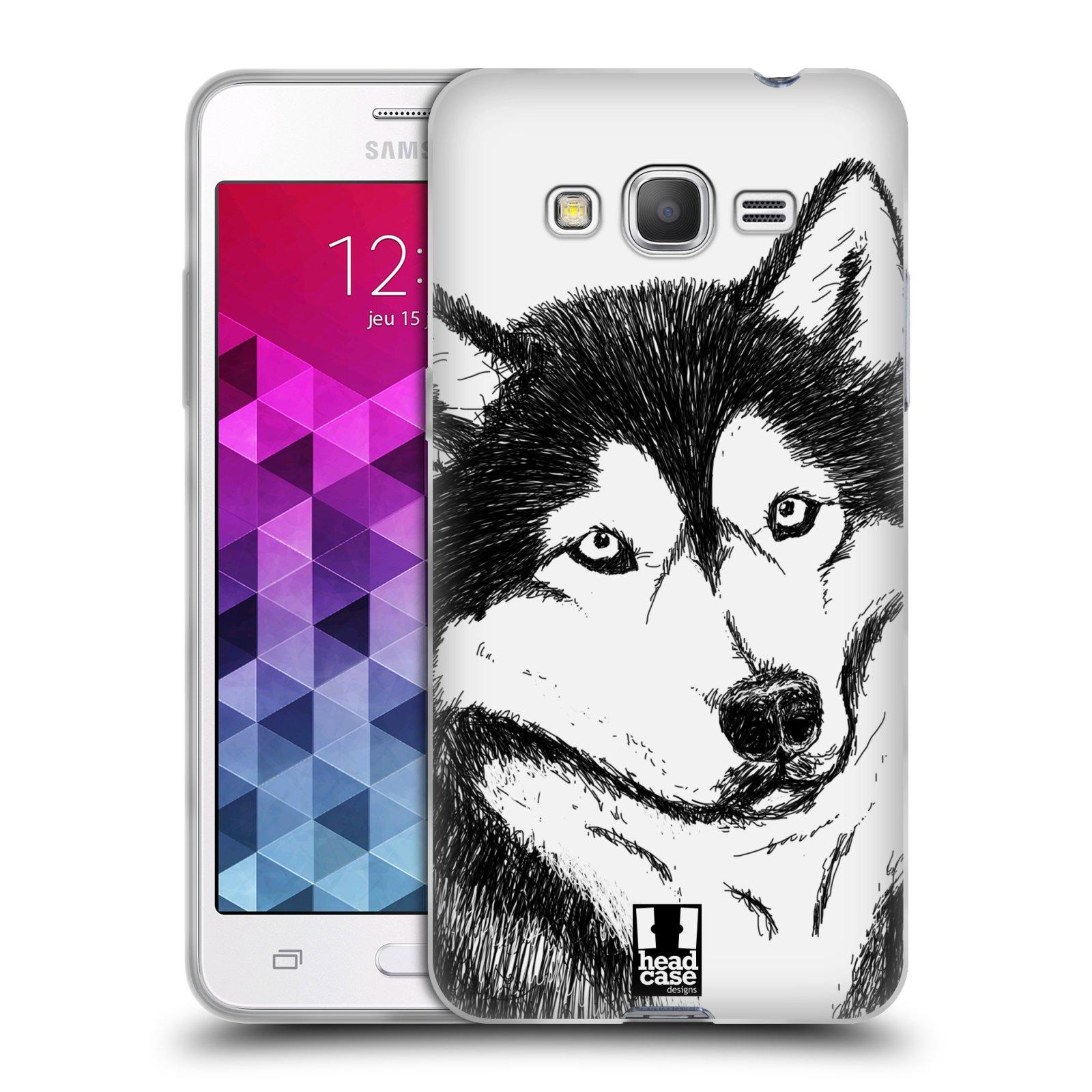 HEAD CASE silikonový obal na mobil Samsung Galaxy GRAND PRIME vzor Kreslená zvířátka černá a bílá pes husky