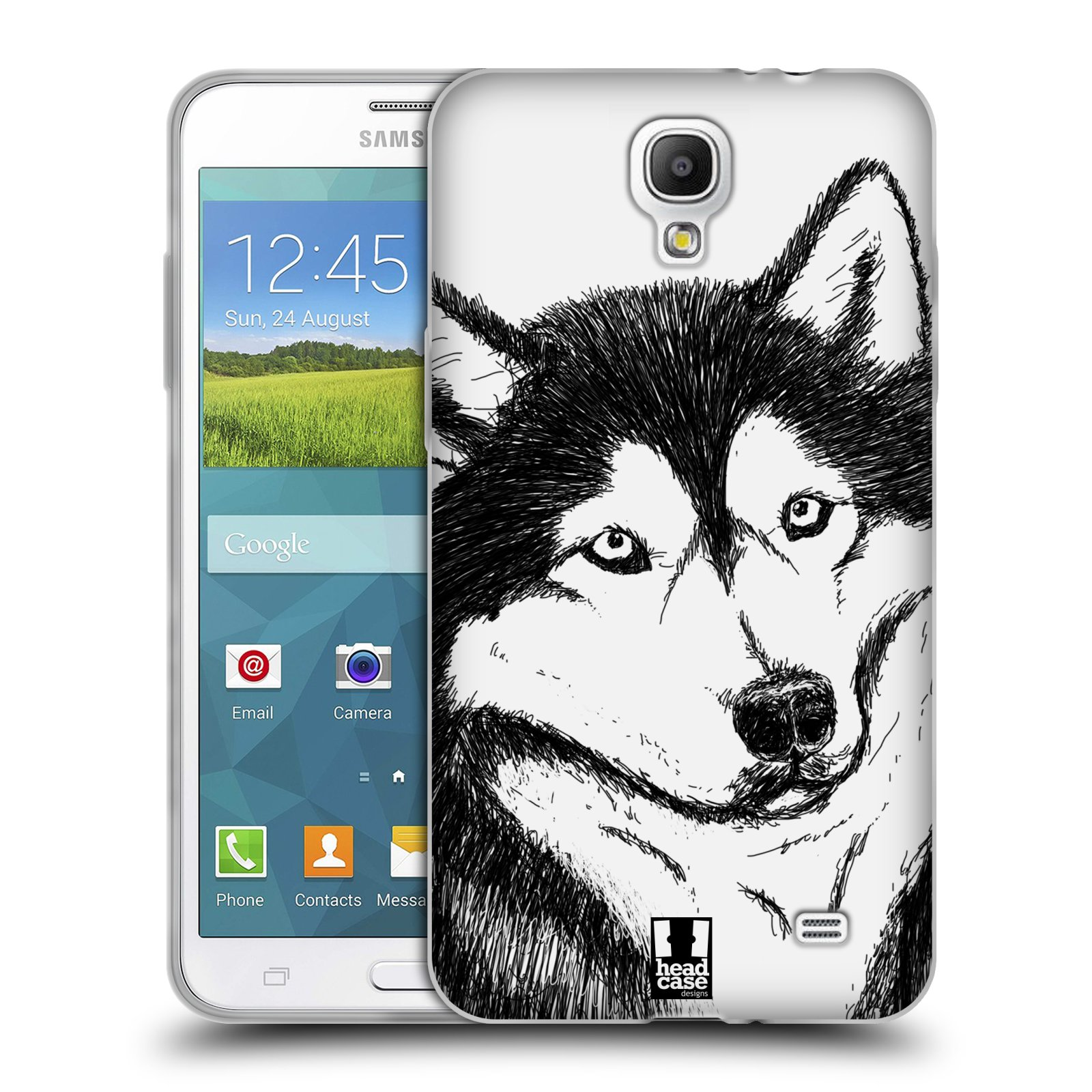 HEAD CASE silikonový obal na mobil Samsung Galaxy Mega 2 vzor Kreslená zvířátka černá a bílá pes husky