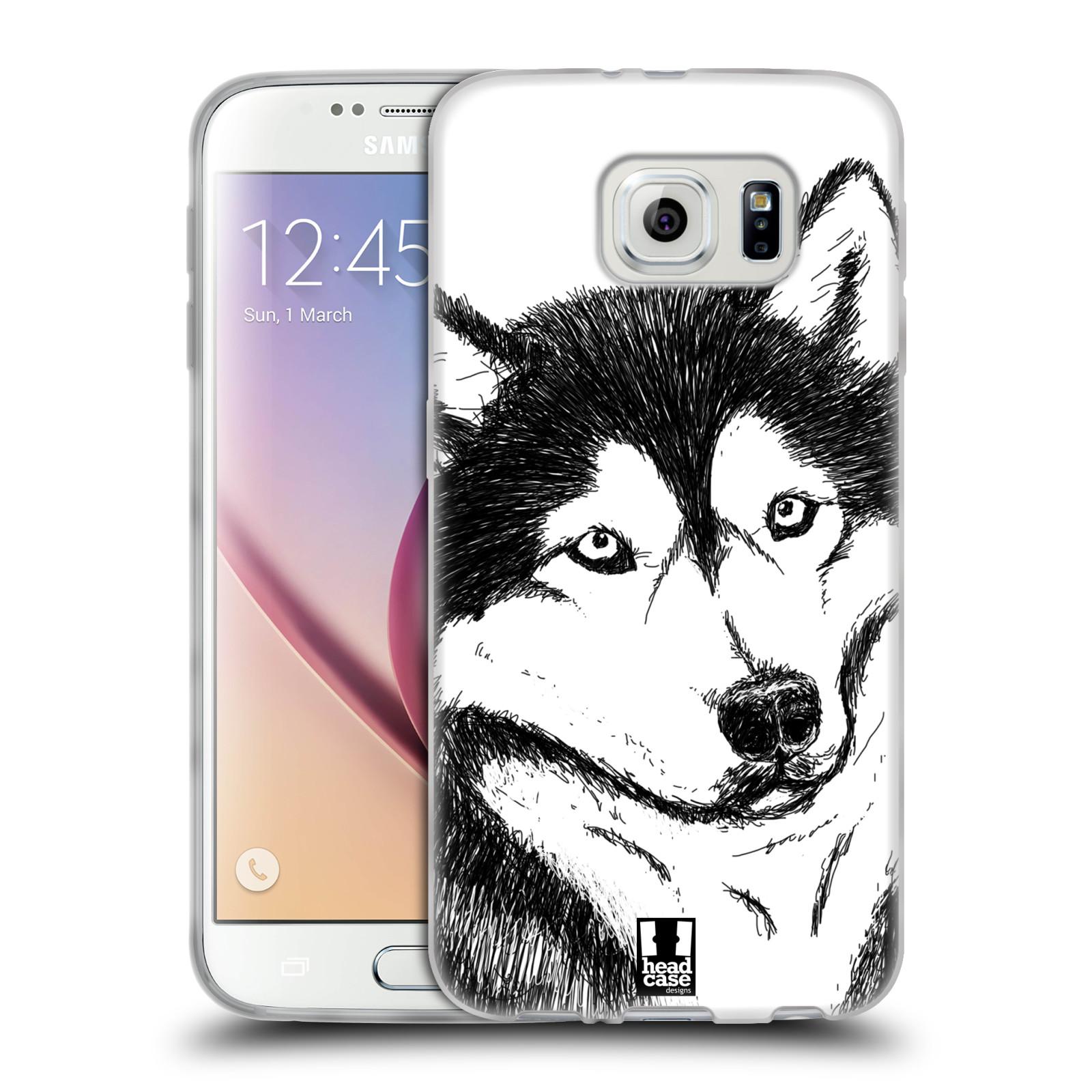 HEAD CASE silikonový obal na mobil Samsung Galaxy S6 vzor Kreslená zvířátka černá a bílá pes husky