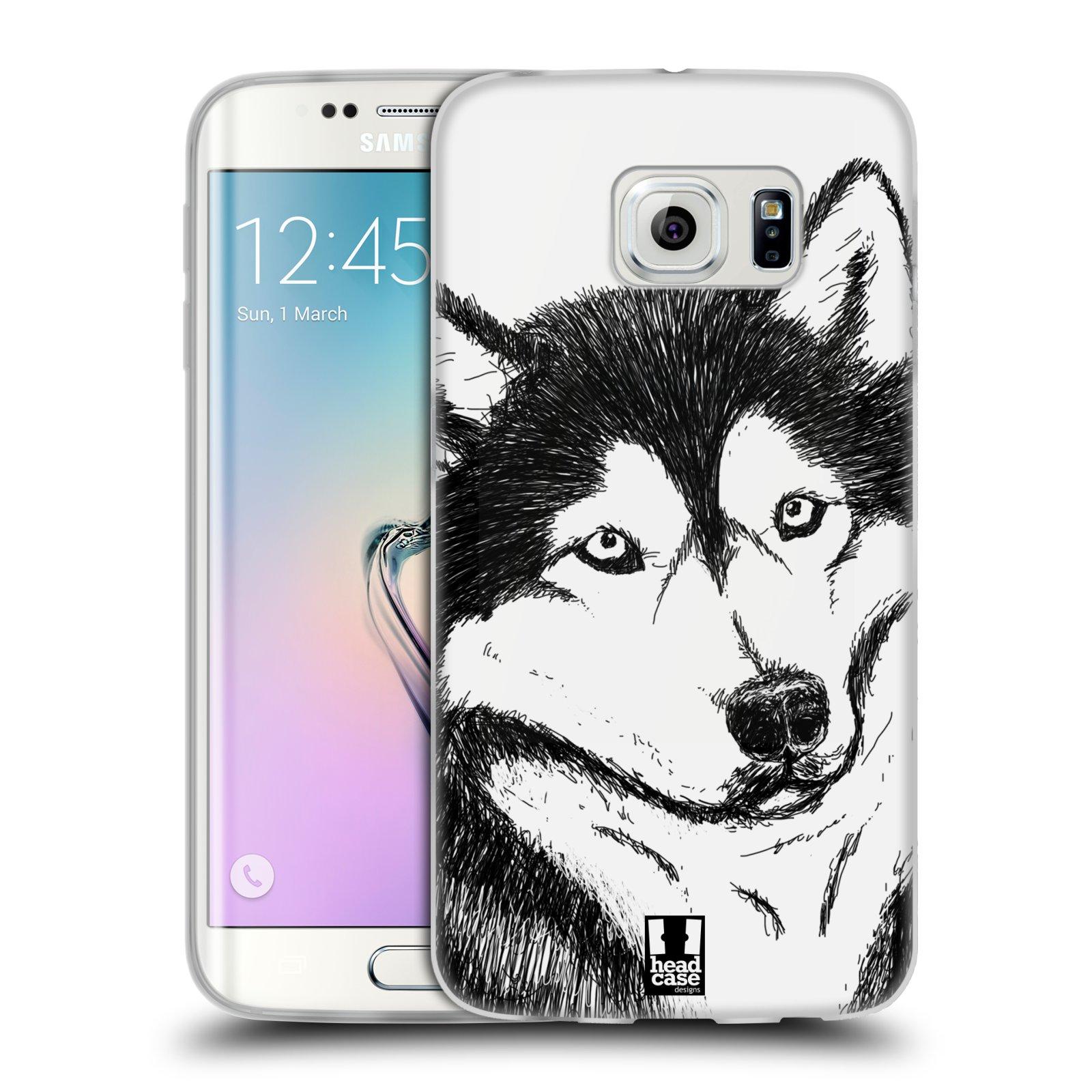 HEAD CASE silikonový obal na mobil Samsung Galaxy S6 EDGE vzor Kreslená zvířátka černá a bílá pes husky