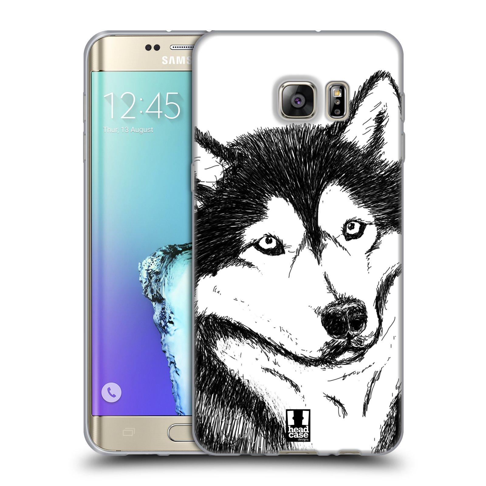 HEAD CASE silikonový obal na mobil Samsung Galaxy S6 EDGE PLUS vzor Kreslená zvířátka černá a bílá pes husky